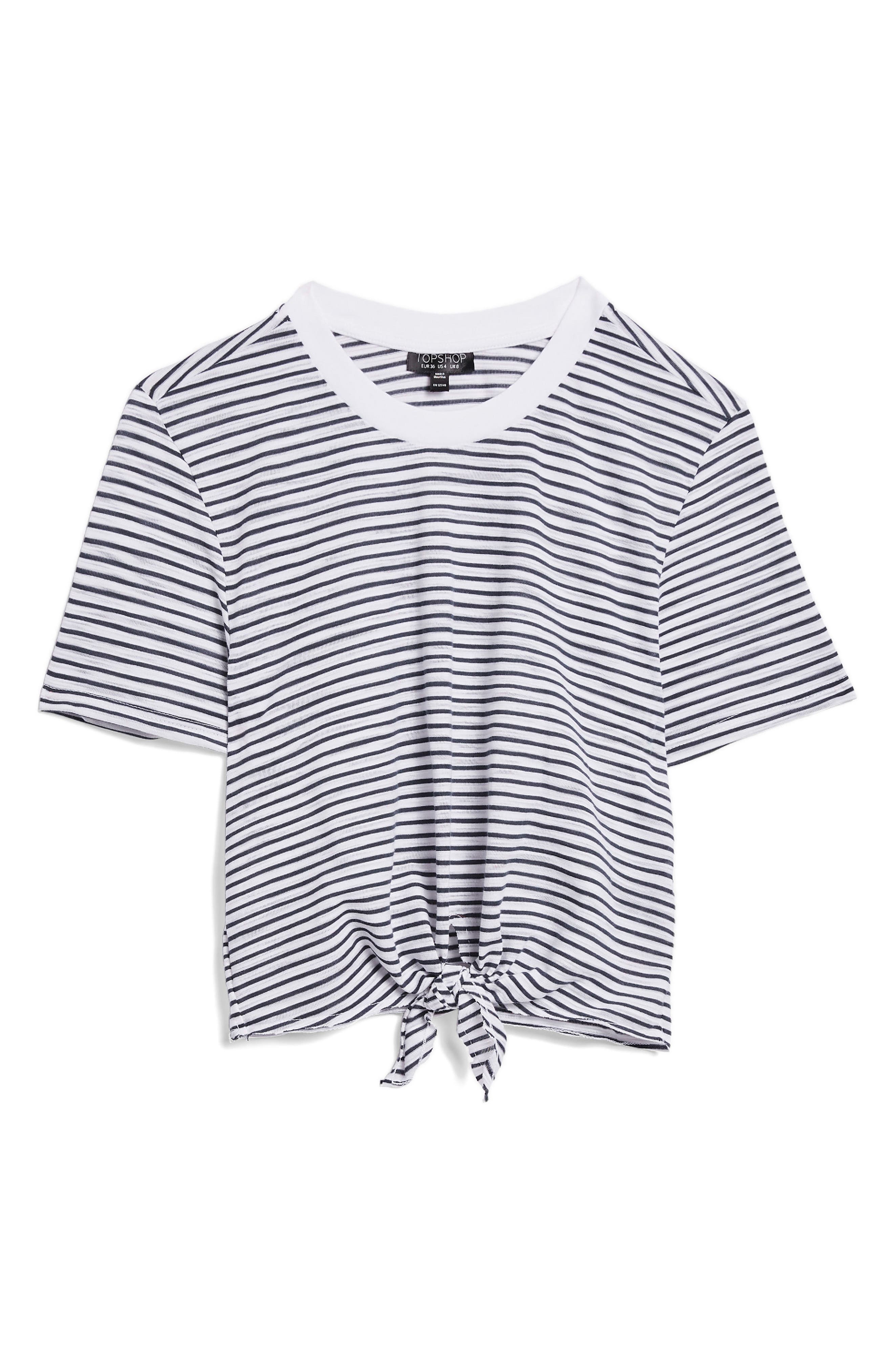 Stripe Front Tie Tee,                             Alternate thumbnail 2, color,                             NAVY BLUE MULTI