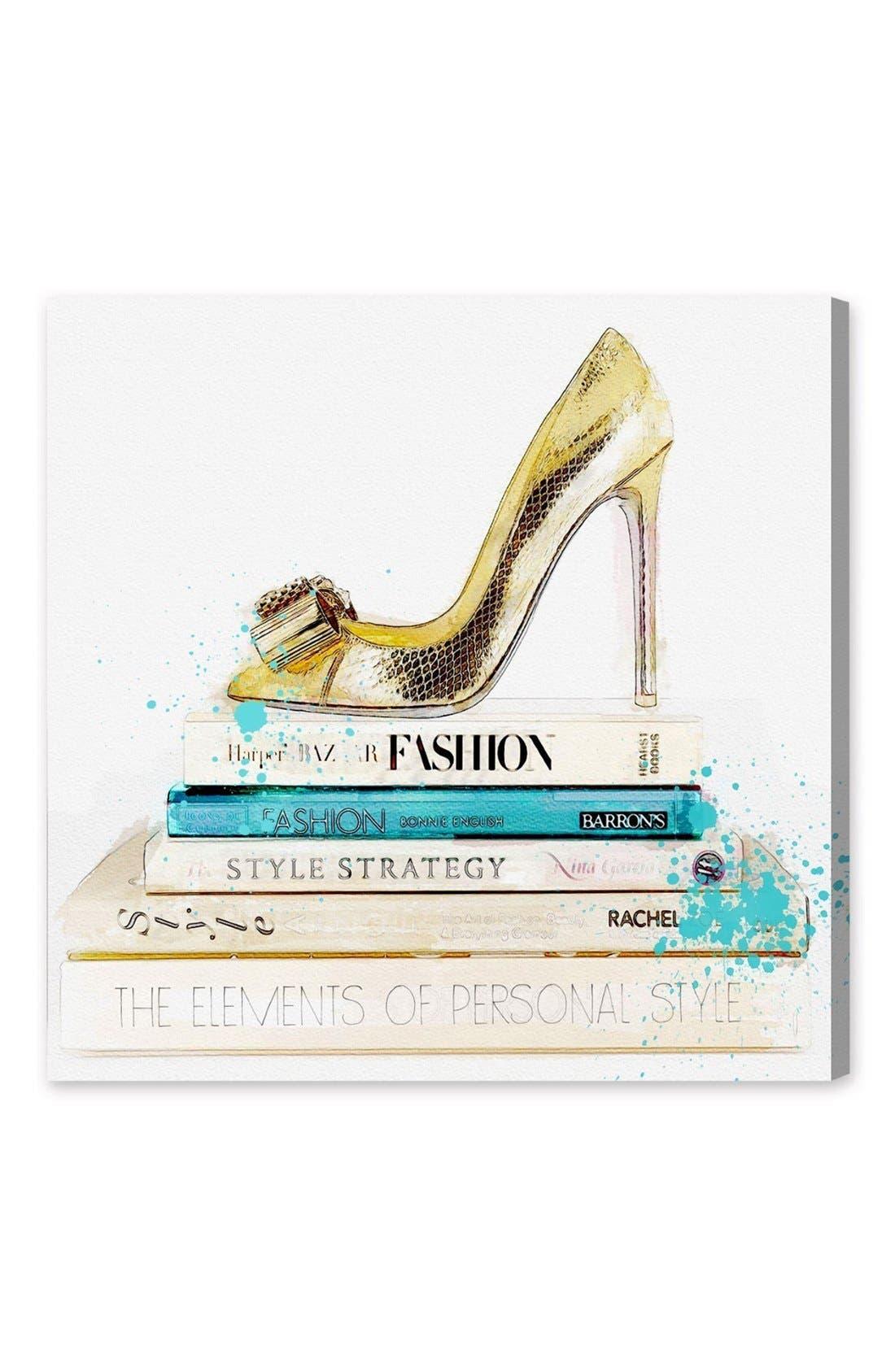'Gold Shoe & Fashion Books' Canvas Wall Art,                             Main thumbnail 1, color,