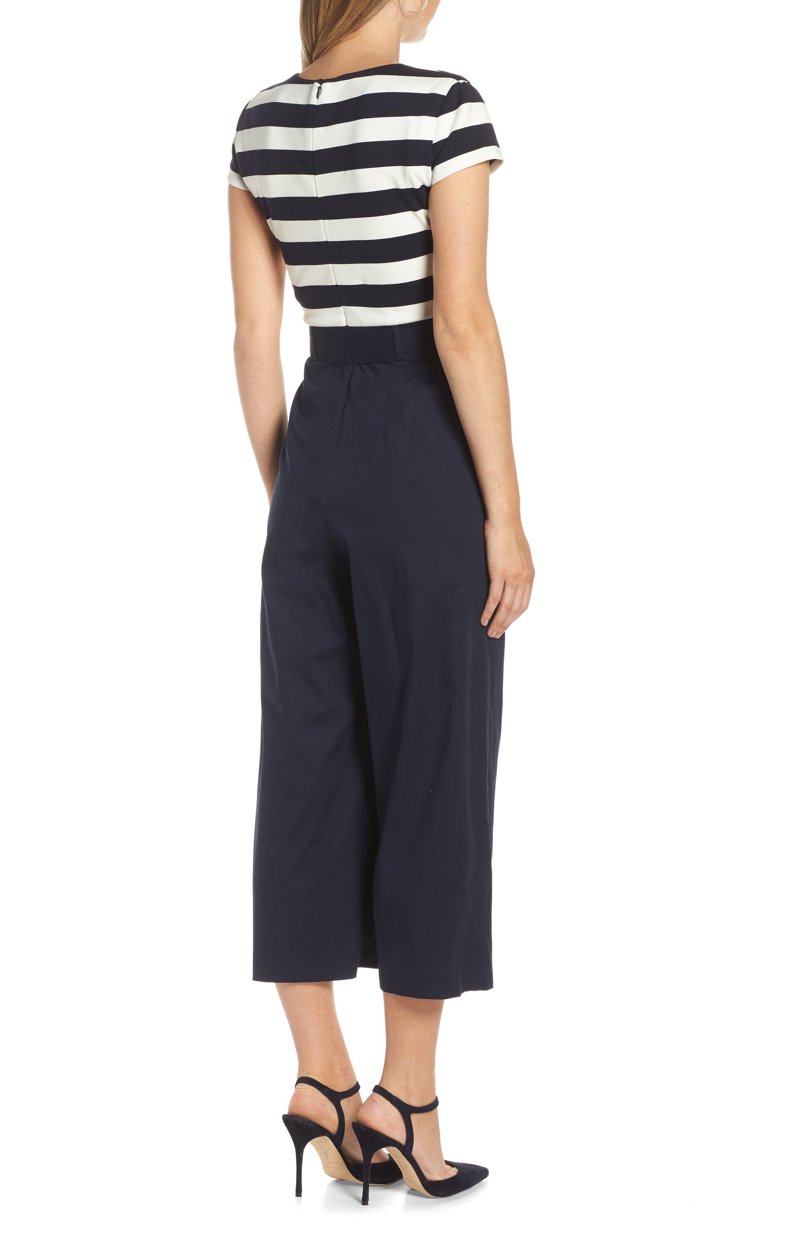 Stripe Ponte Crop Jumpsuit,                             Alternate thumbnail 2, color,                             BLUE WHITE STRIPE