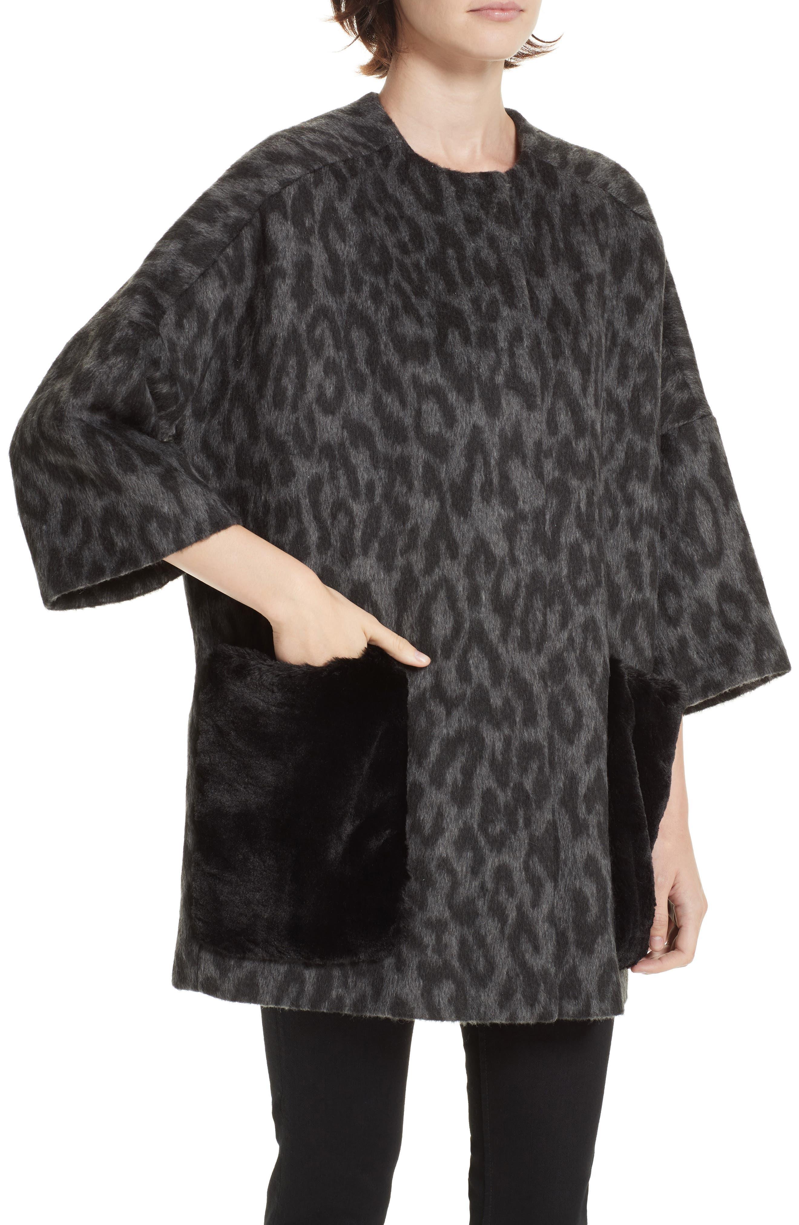 Faux Fur Kimono,                             Alternate thumbnail 4, color,                             FIORELLA L/ C