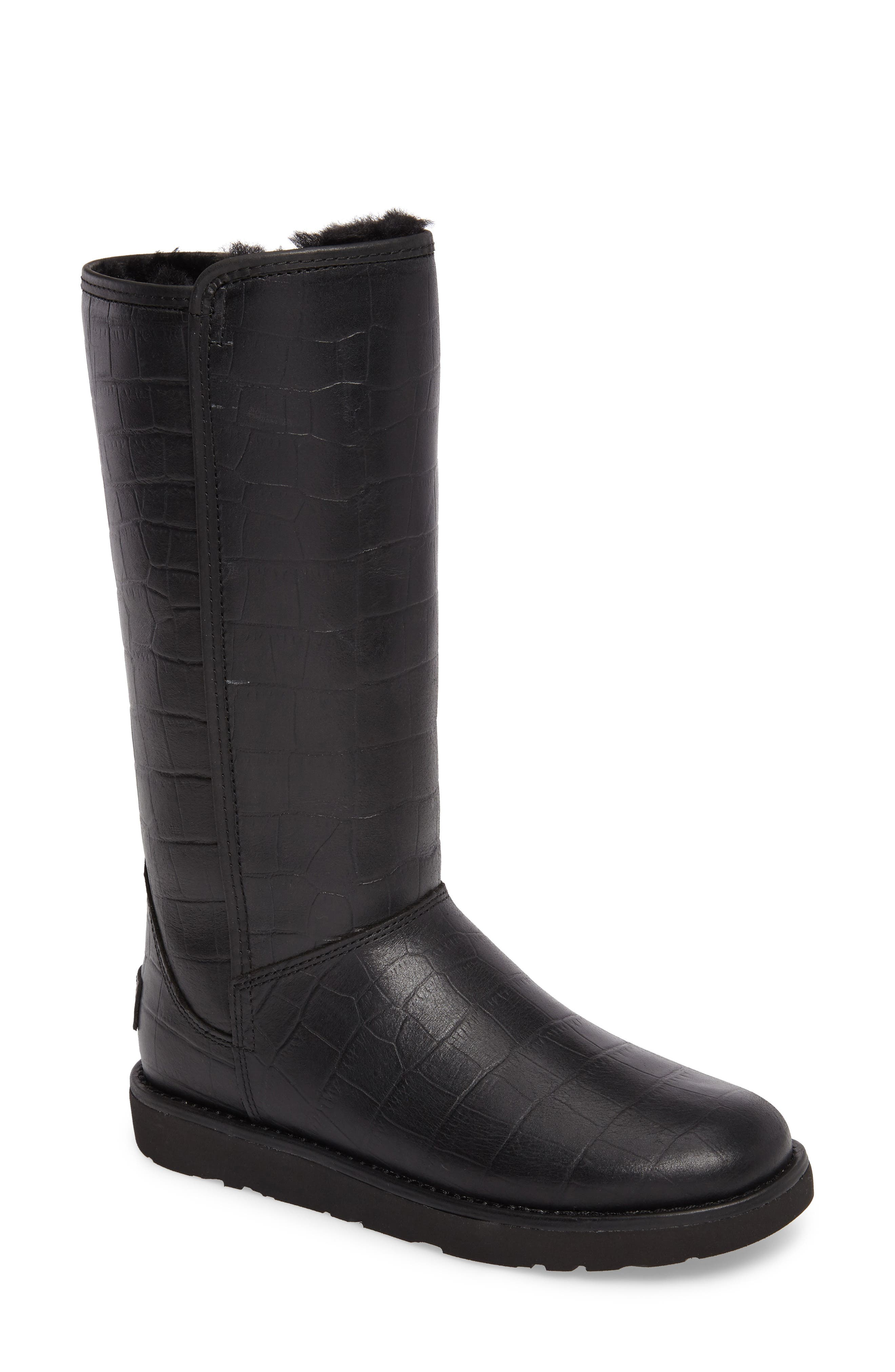 Abree II Croc Embossed Boot,                             Main thumbnail 1, color,                             001