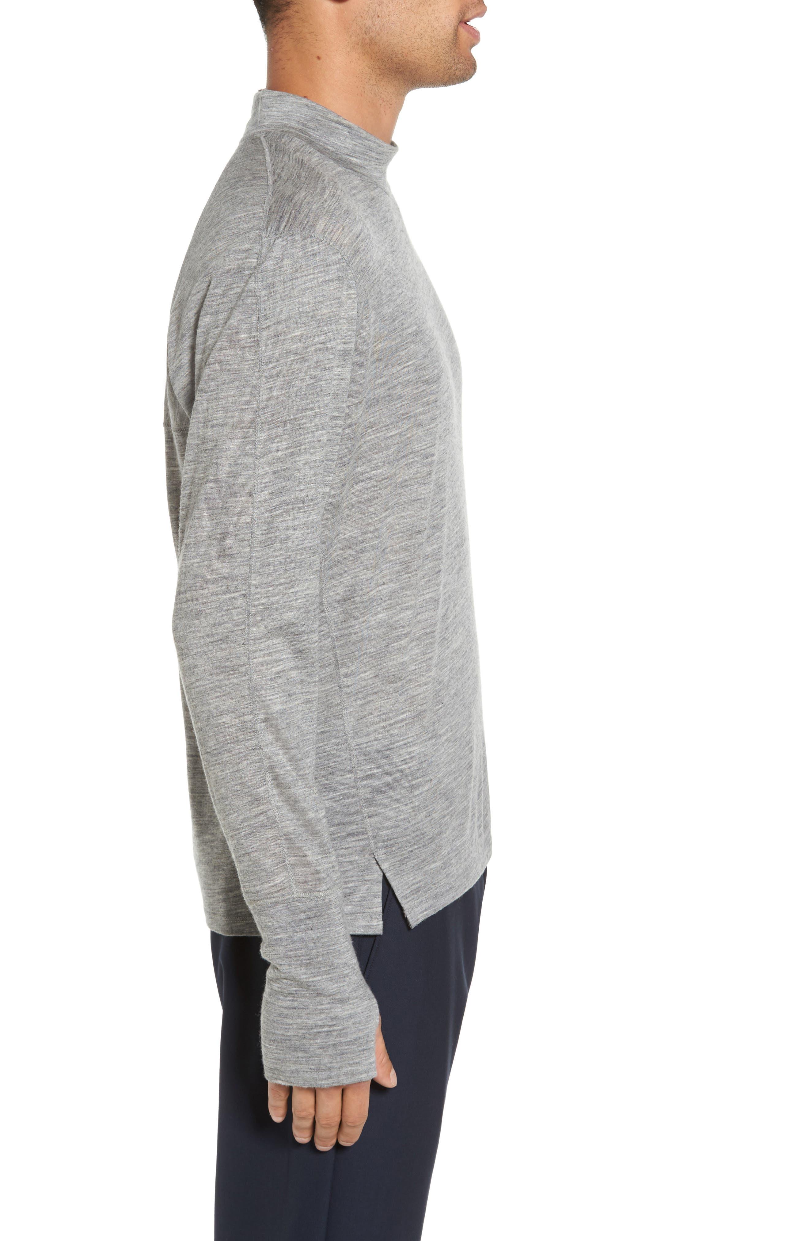 Mock Neck Thumbhole Wool T-Shirt,                             Alternate thumbnail 6, color,
