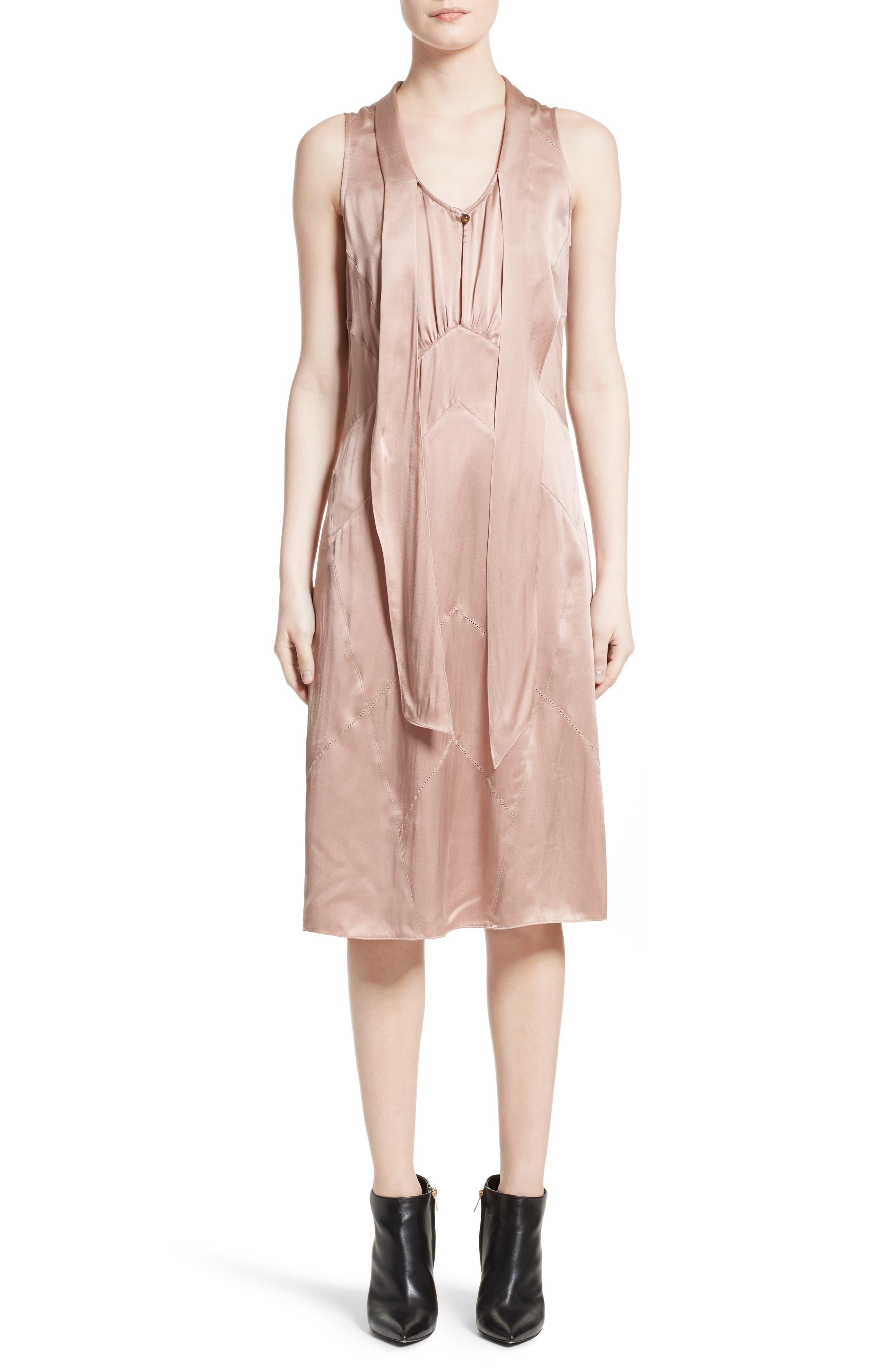 Cathy Tie Neck Silk Dress,                         Main,                         color,