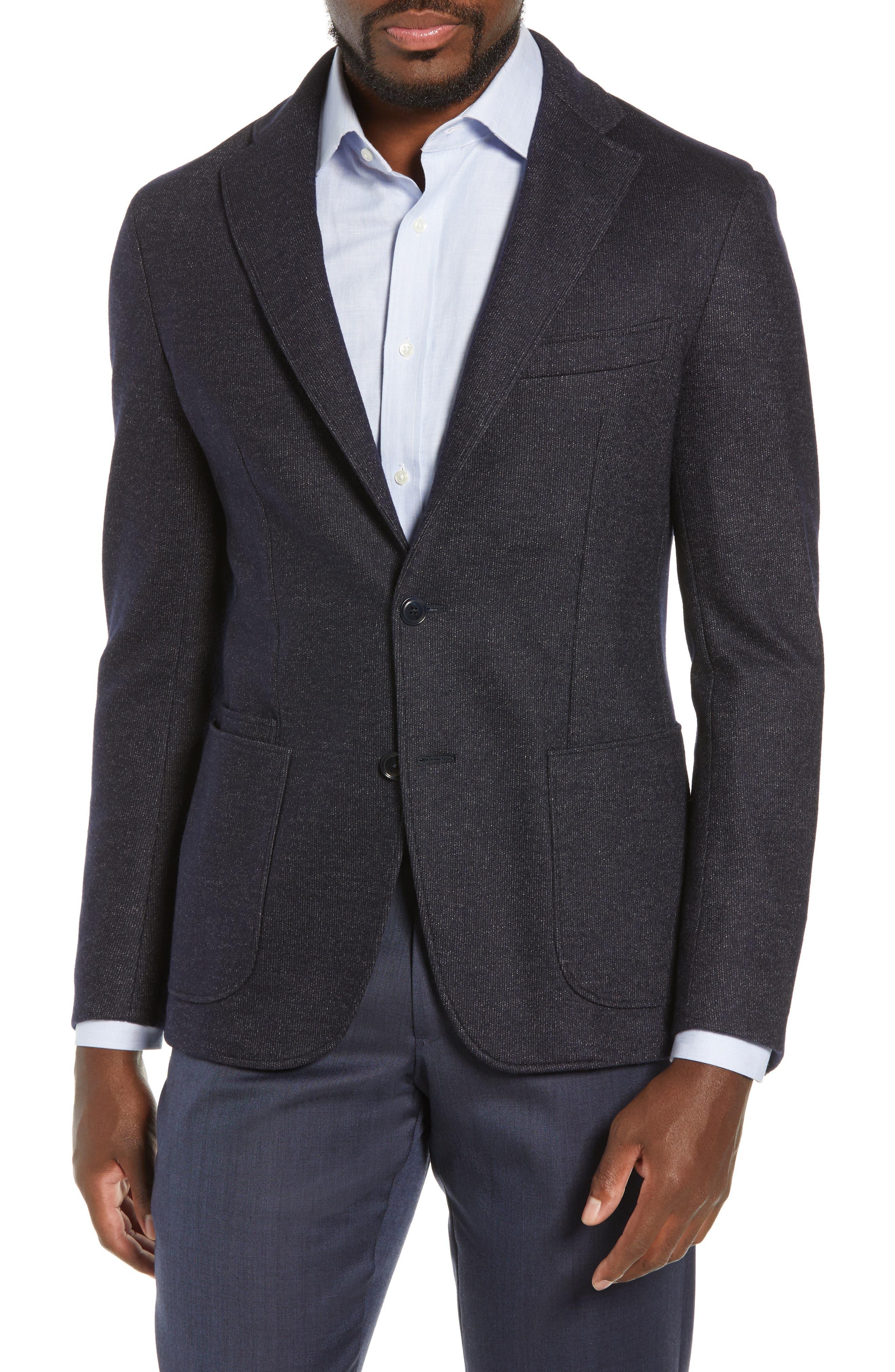 Trim Fit Cotton Blend Blazer,                             Main thumbnail 1, color,                             NAVY