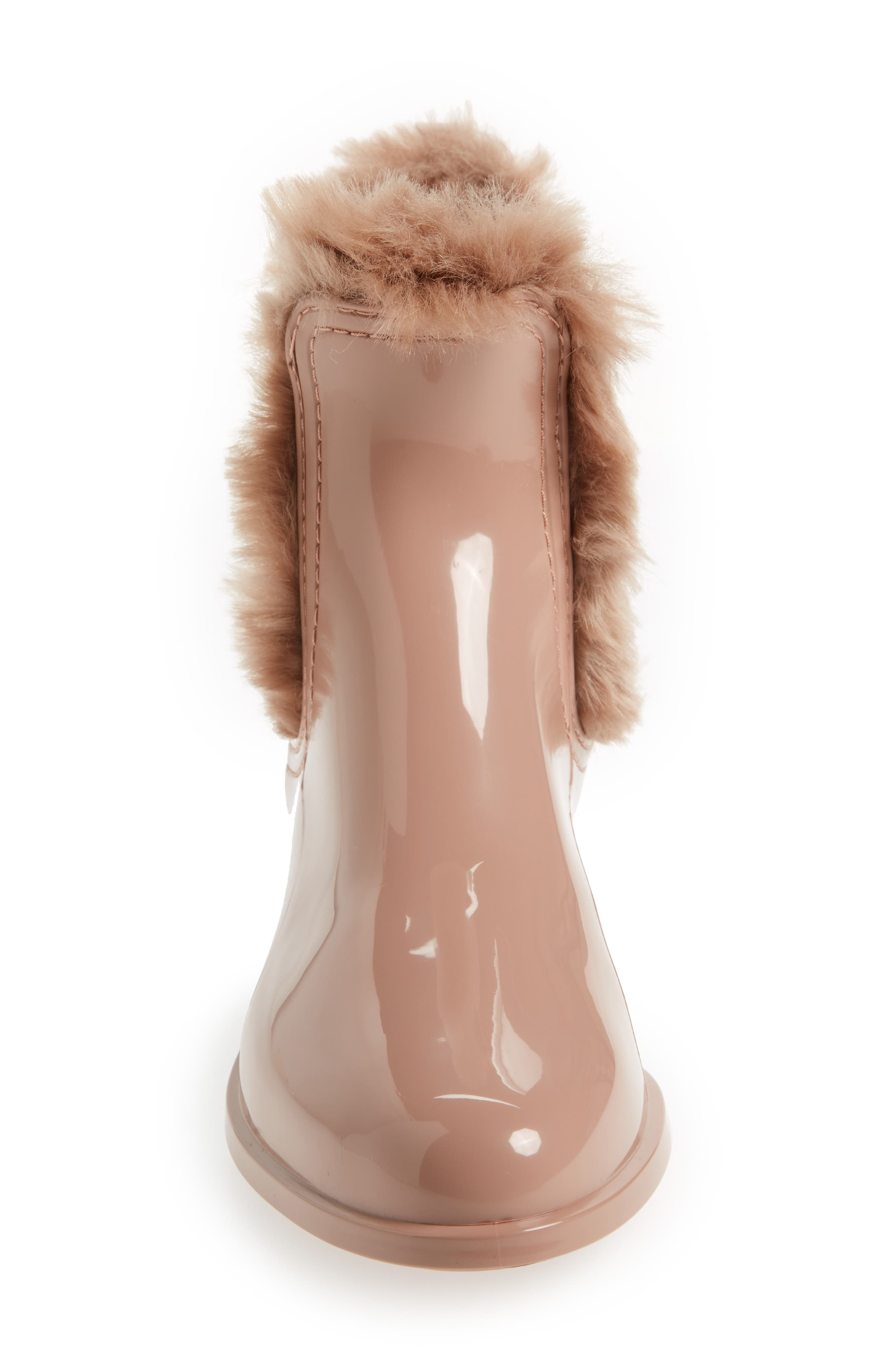 Aisha Waterproof Chelsea Boot with Faux Fur Lining,                             Alternate thumbnail 4, color,                             ROSE MATTE
