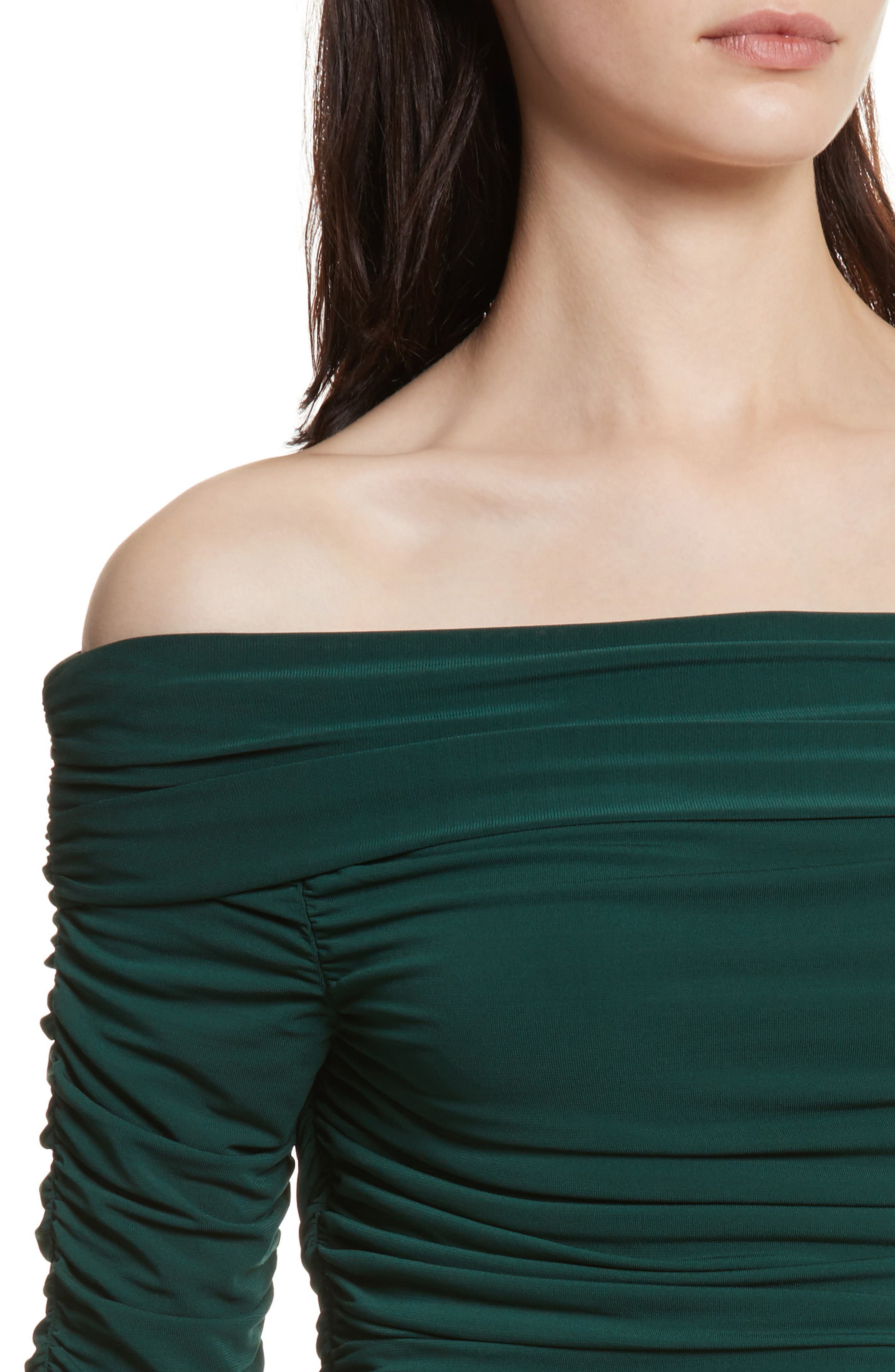 Terence Ruched Off the Shoulder Top,                             Alternate thumbnail 4, color,