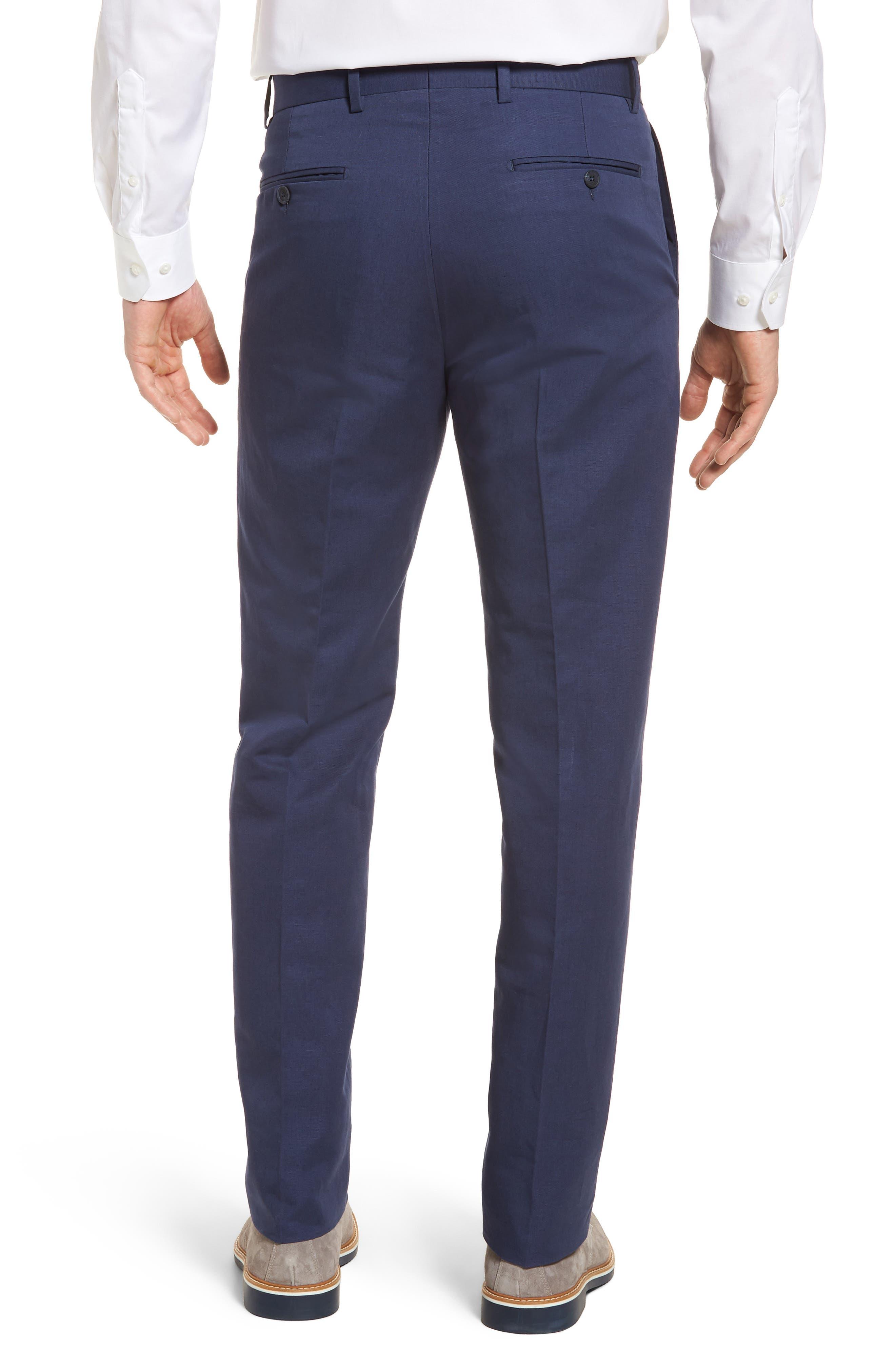 Flat Front Solid Cotton & Linen Trousers,                             Alternate thumbnail 12, color,