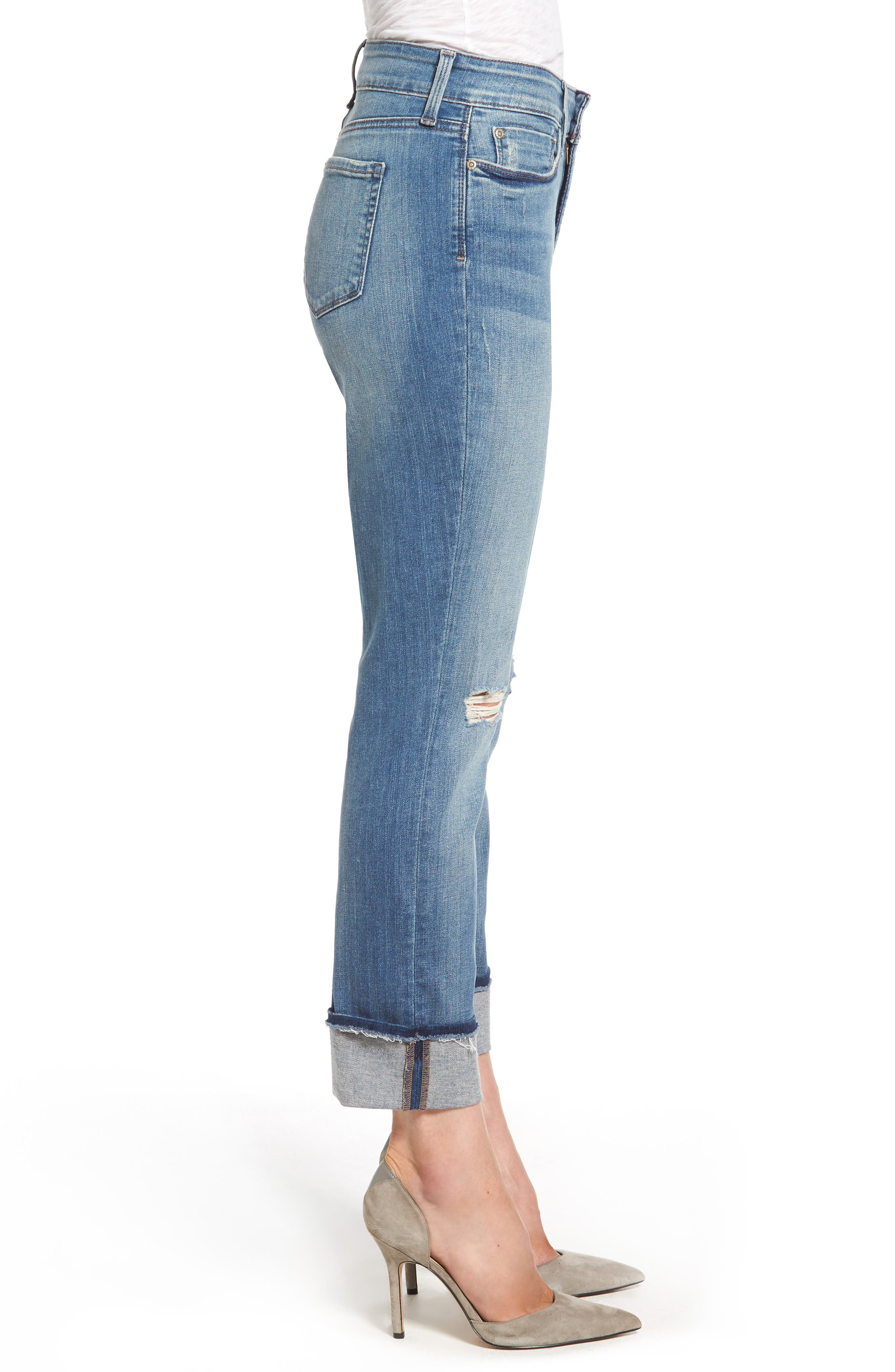 Jessica Distressed Fray Cuff Boyfriend Jeans,                             Alternate thumbnail 3, color,                             471