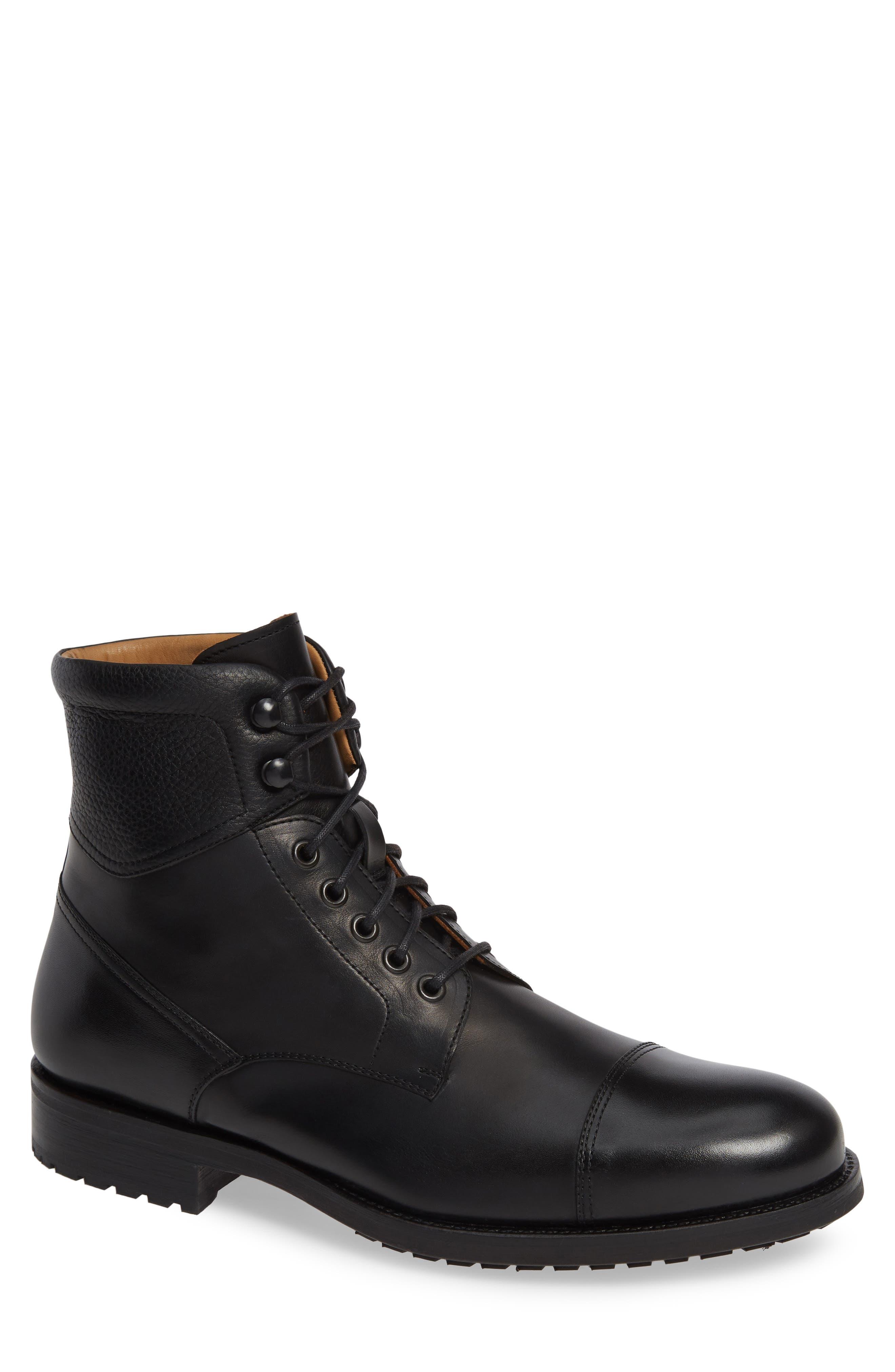 Peyton Cap Toe Boot,                             Main thumbnail 1, color,                             BLACK LEATHER