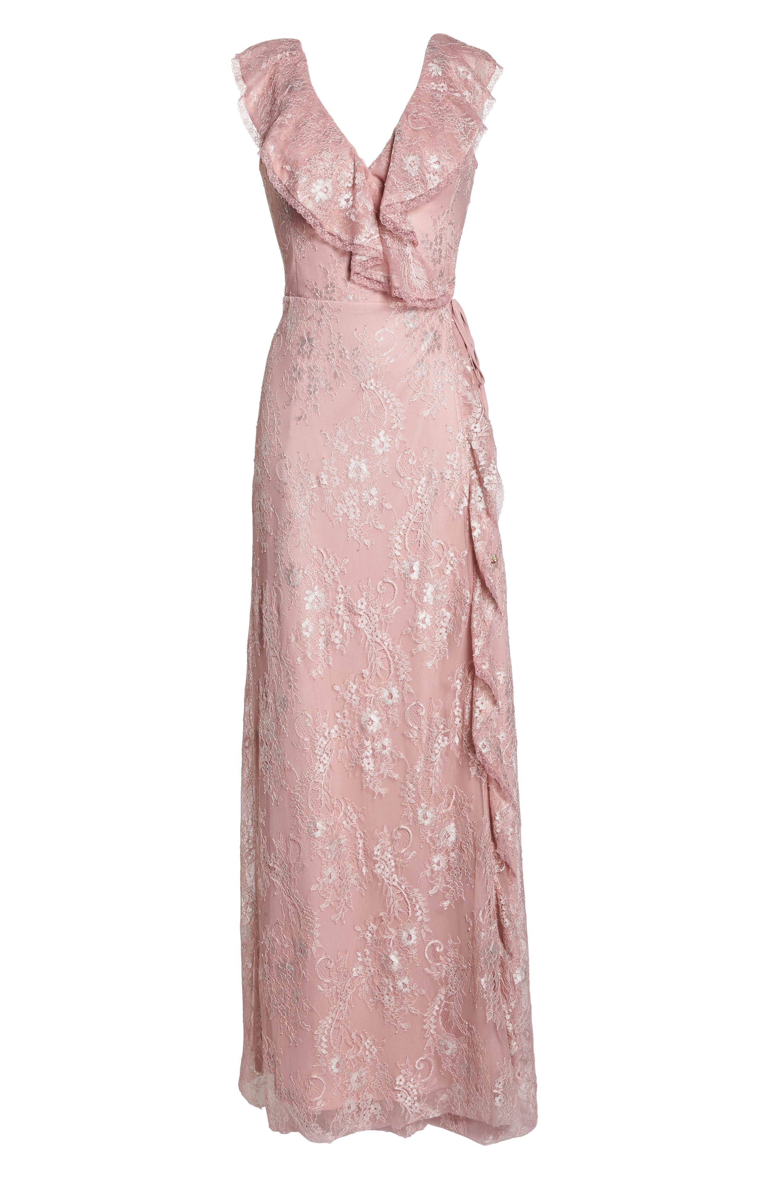 Rio Ruffle Lace Wrap Gown,                             Alternate thumbnail 7, color,                             CALYPSO