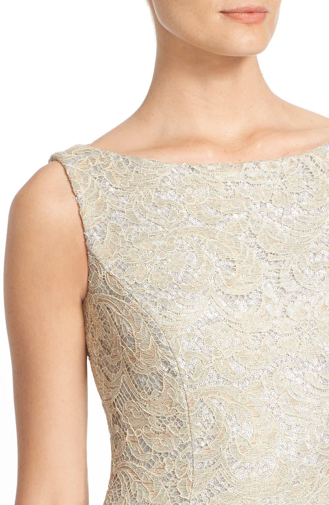 Sequin Lace Column Gown,                             Alternate thumbnail 5, color,                             SAND