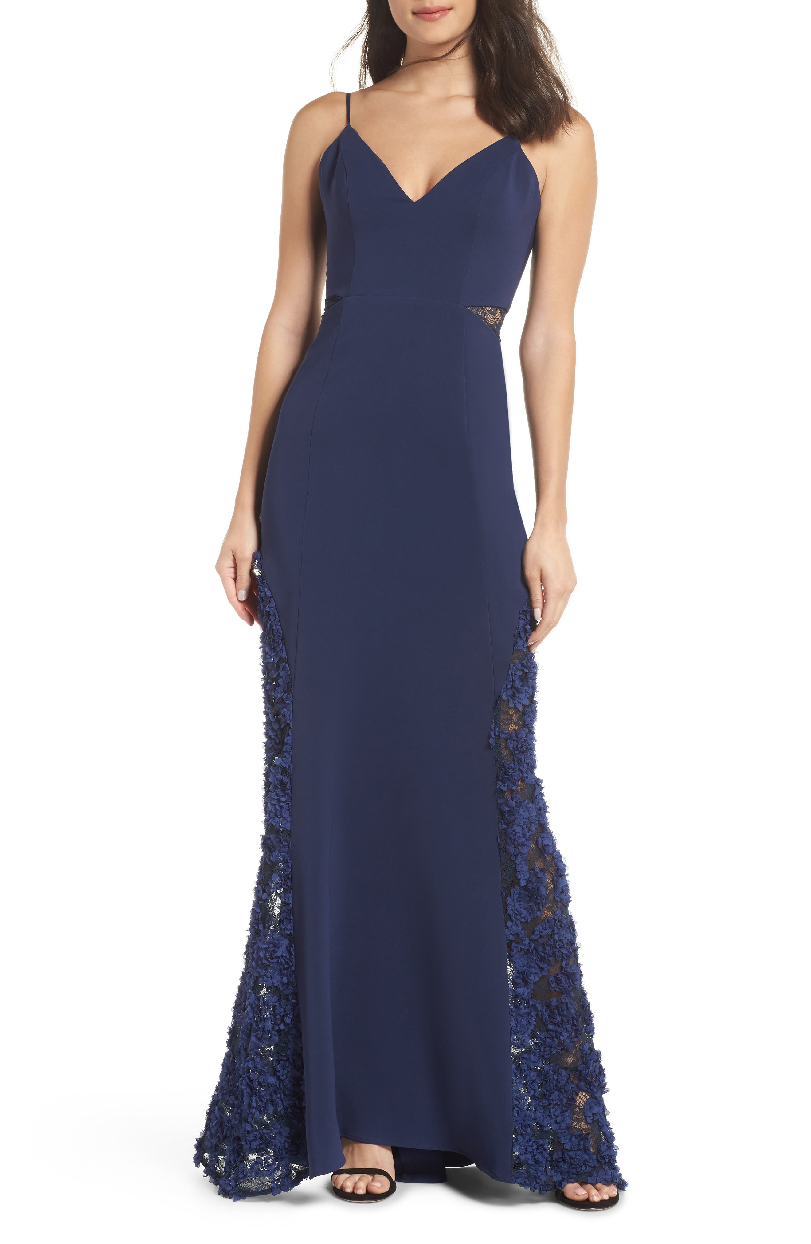 Shannon Lace Inset Gown,                             Main thumbnail 1, color,                             DARK NAVY