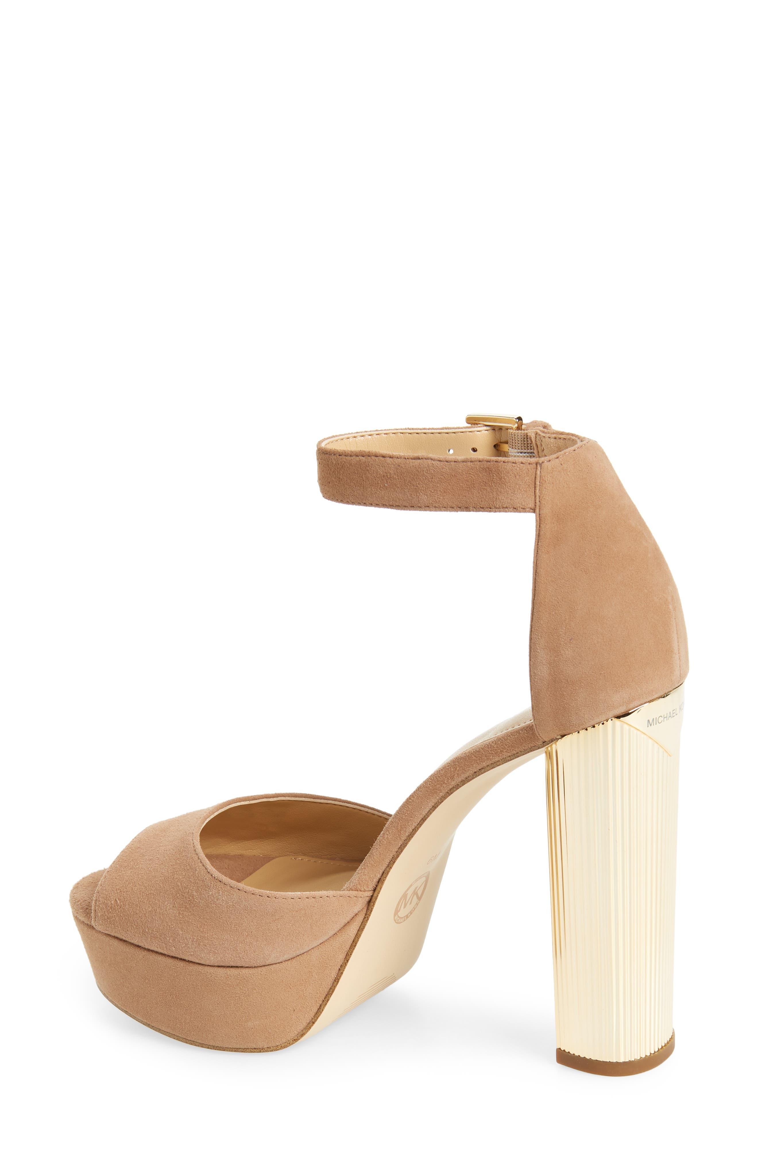 Paloma Metallic Heel Platform Sandal,                             Alternate thumbnail 2, color,                             DARK KHAKI