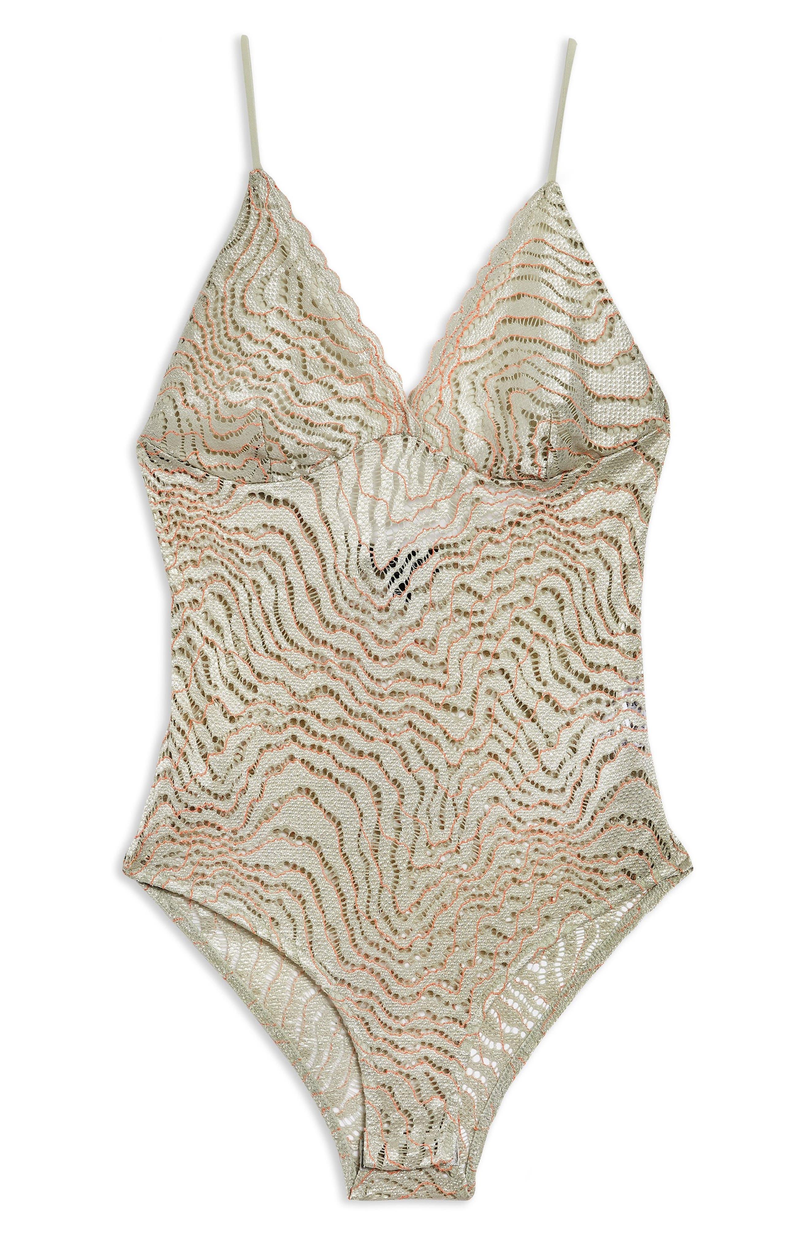 Scallop Lace Plunge Bodysuit,                             Alternate thumbnail 4, color,                             050