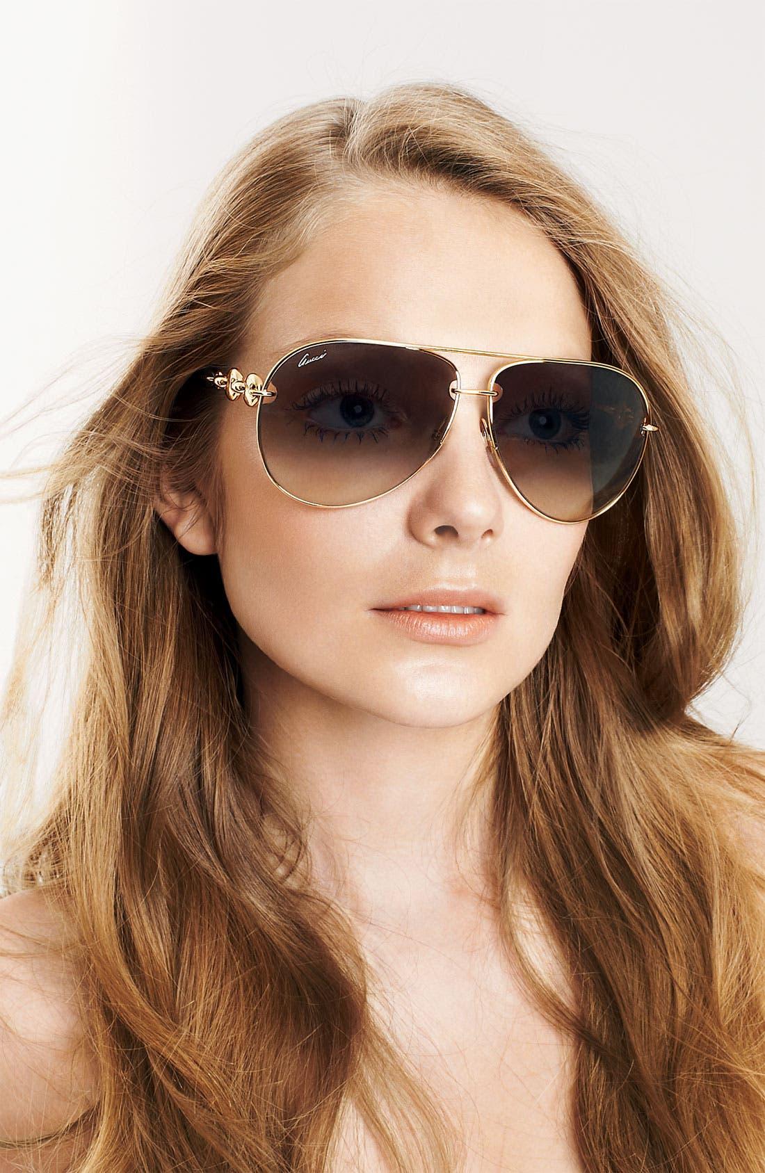 'Marina Chain' 63mm Aviator Sunglasses,                             Alternate thumbnail 2, color,                             001