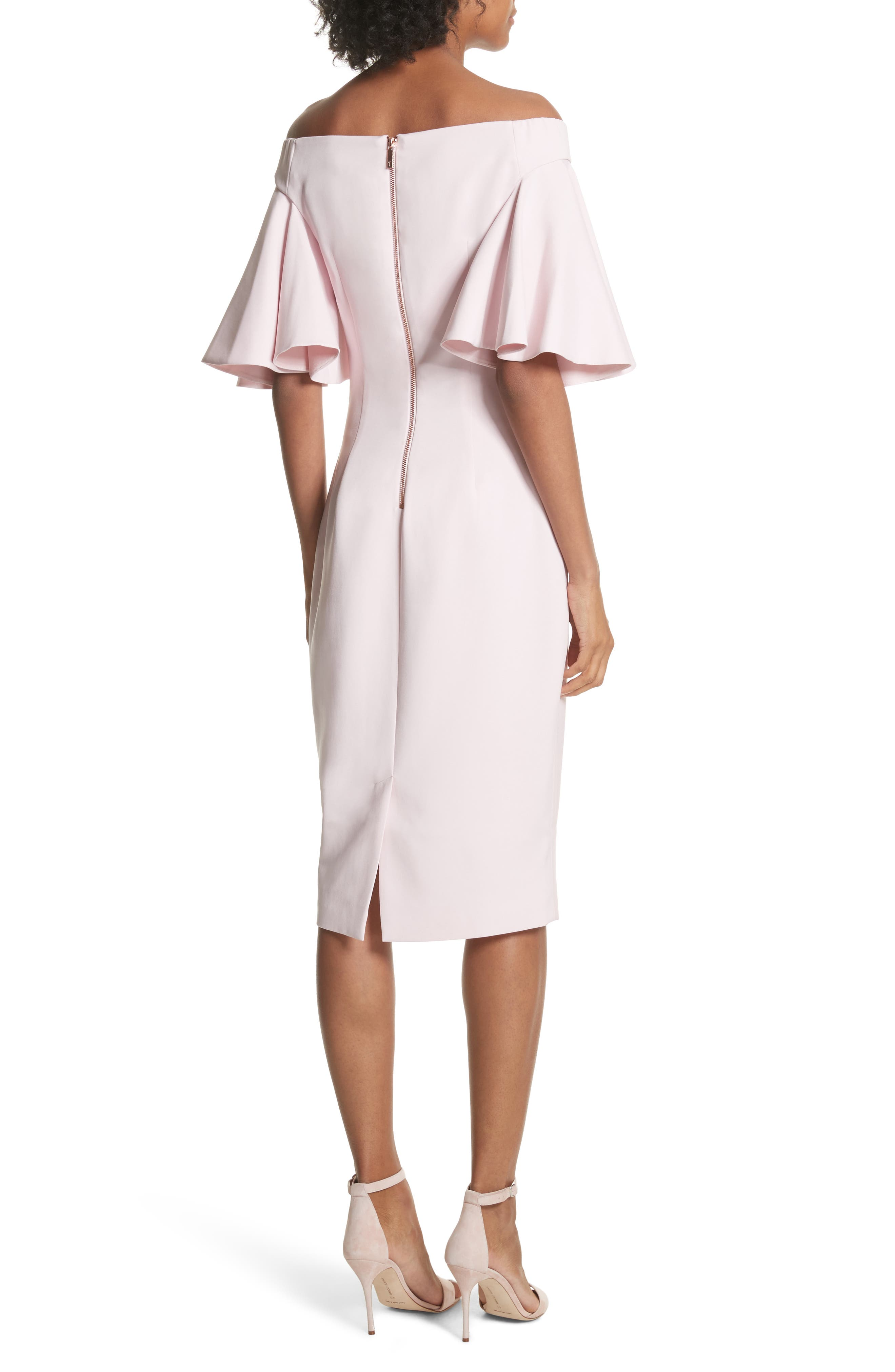 Soft Blossom Off the Shoulder Sheath Dress,                             Alternate thumbnail 2, color,                             683