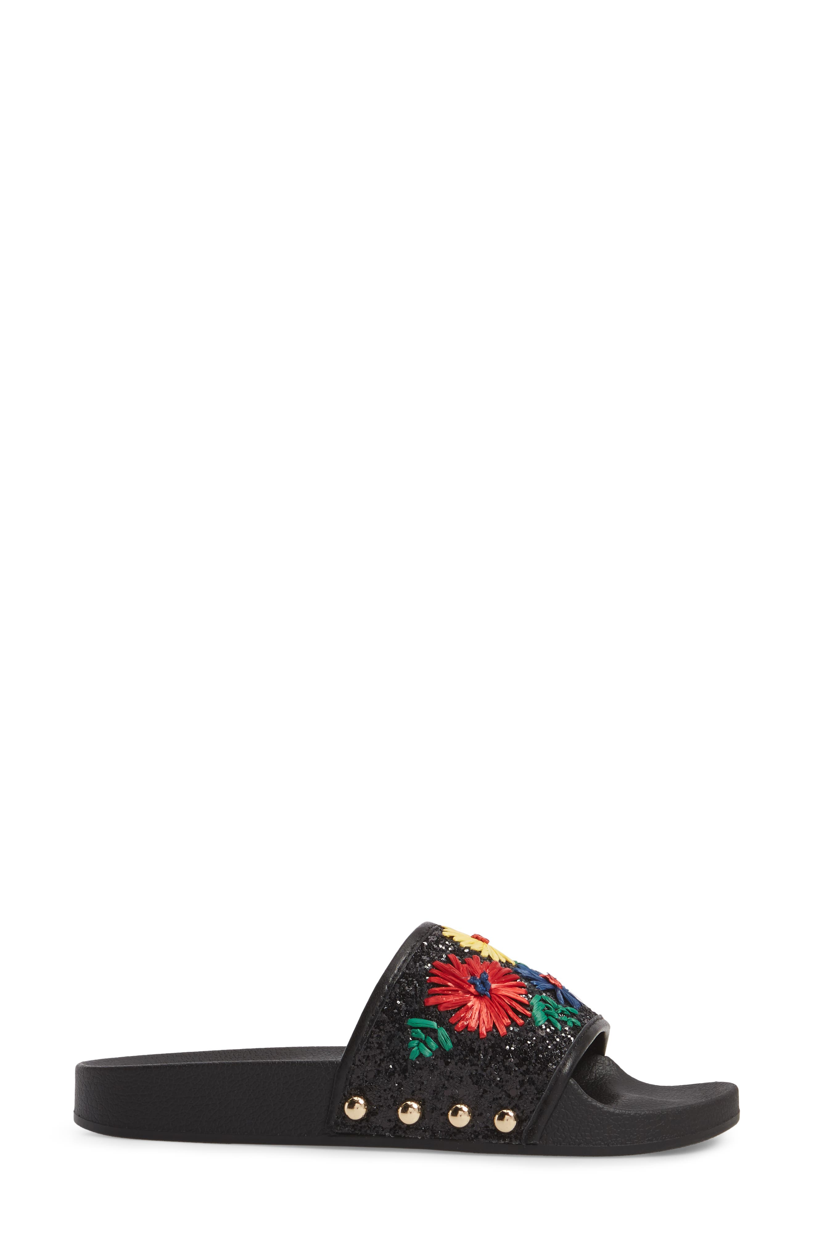 Daisy Slide Sandal,                             Alternate thumbnail 3, color,                             BRIGHT FLORAL PRINT