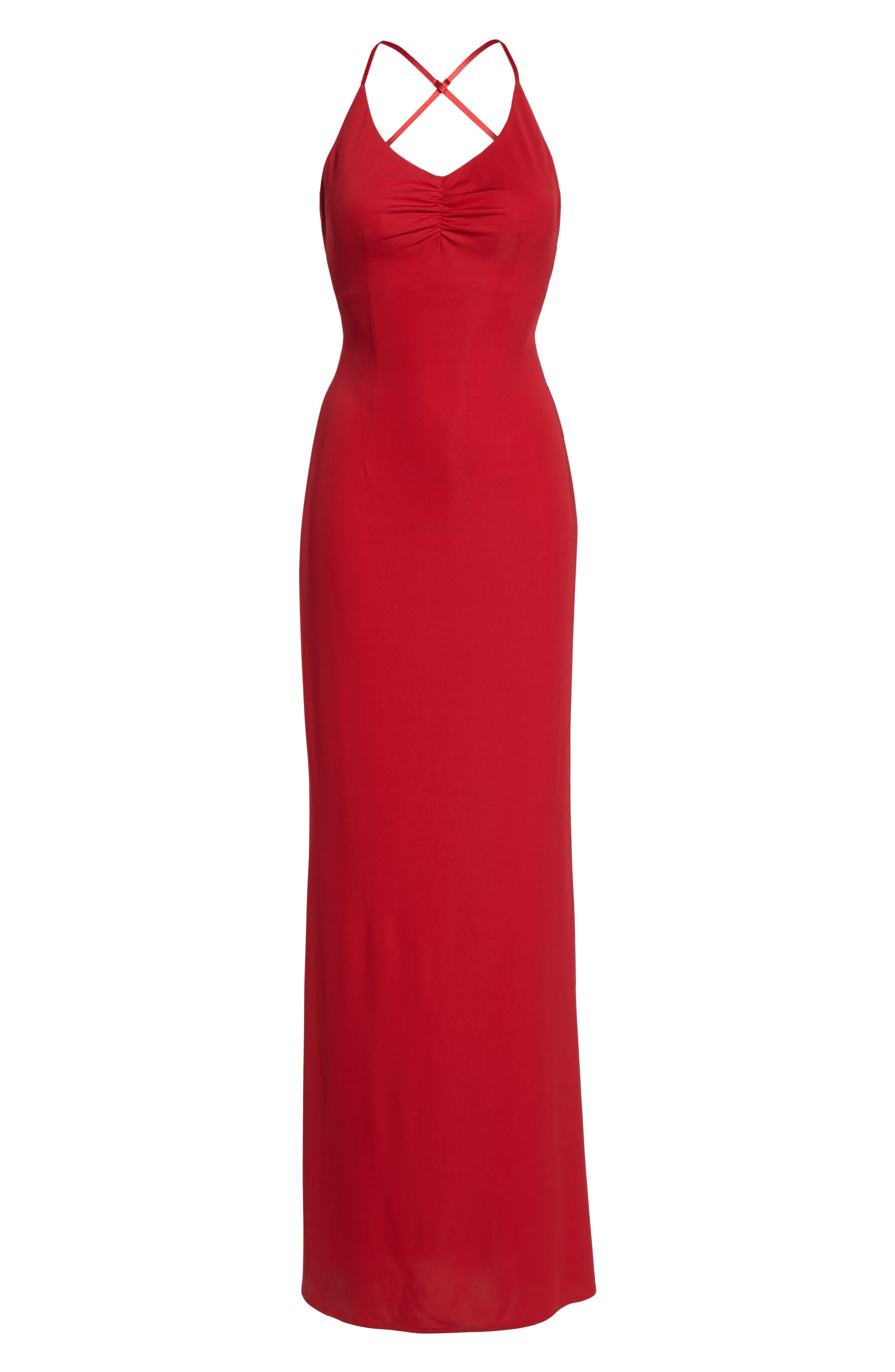 Donna Backless Jersey Dress,                             Alternate thumbnail 6, color,                             RED