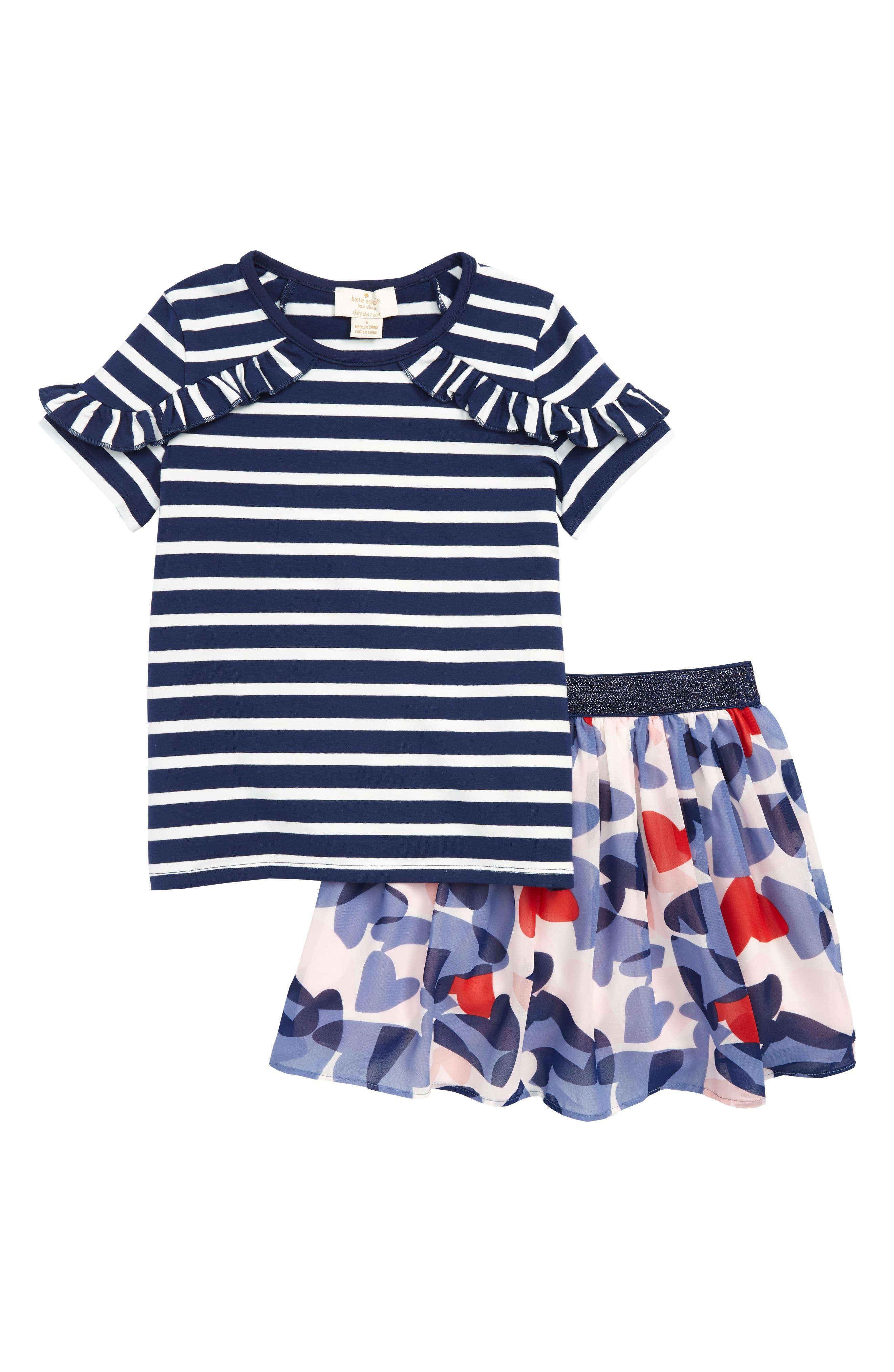 stripe top & confetti hearts skirt set,                             Main thumbnail 1, color,                             650