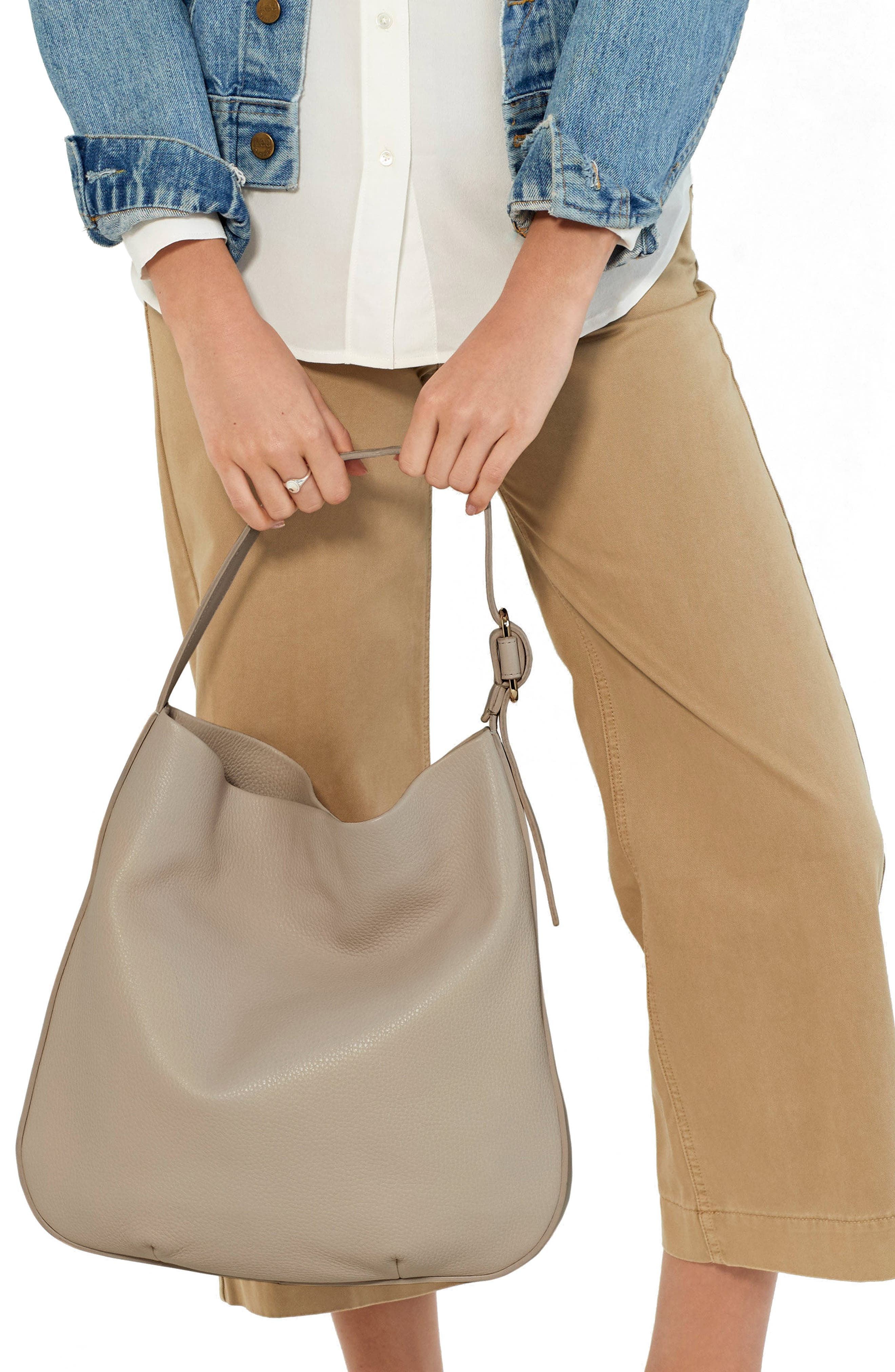 Birdy Grained Leather Hobo Bag,                             Alternate thumbnail 2, color,                             STONE