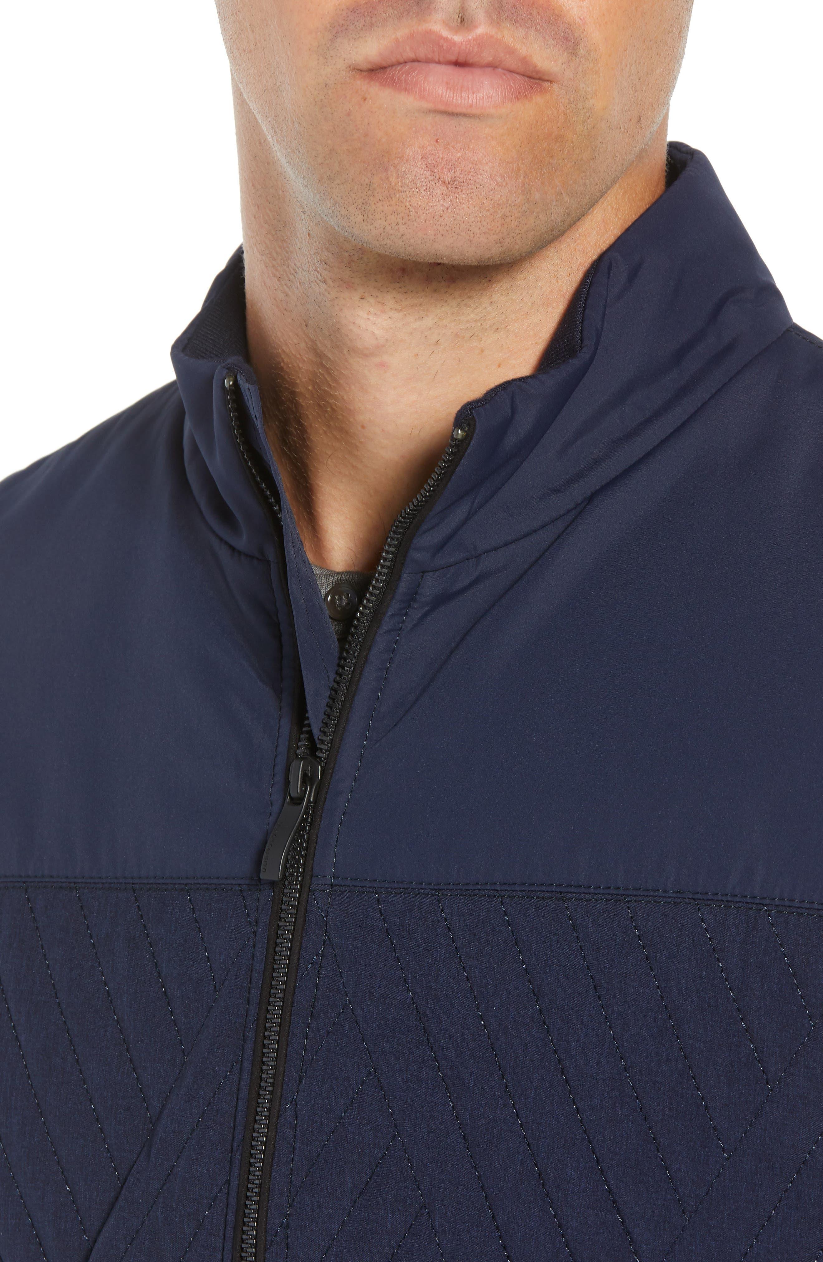 Slim Fit Quilted Vest,                             Alternate thumbnail 4, color,                             NAVY
