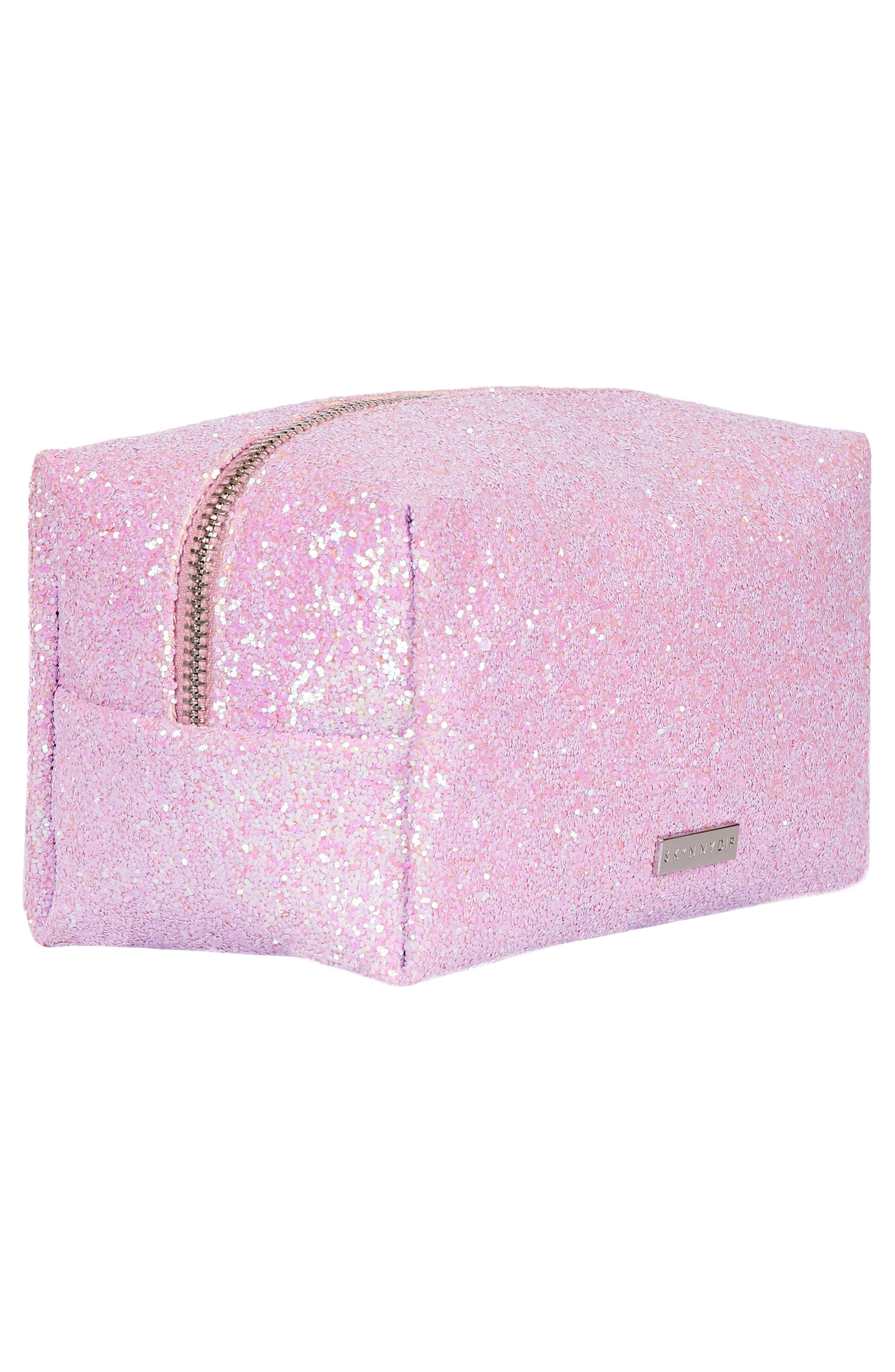 Skinny Dip Pink Glitsy Cosmetics Case,                             Alternate thumbnail 3, color,                             NO COLOR