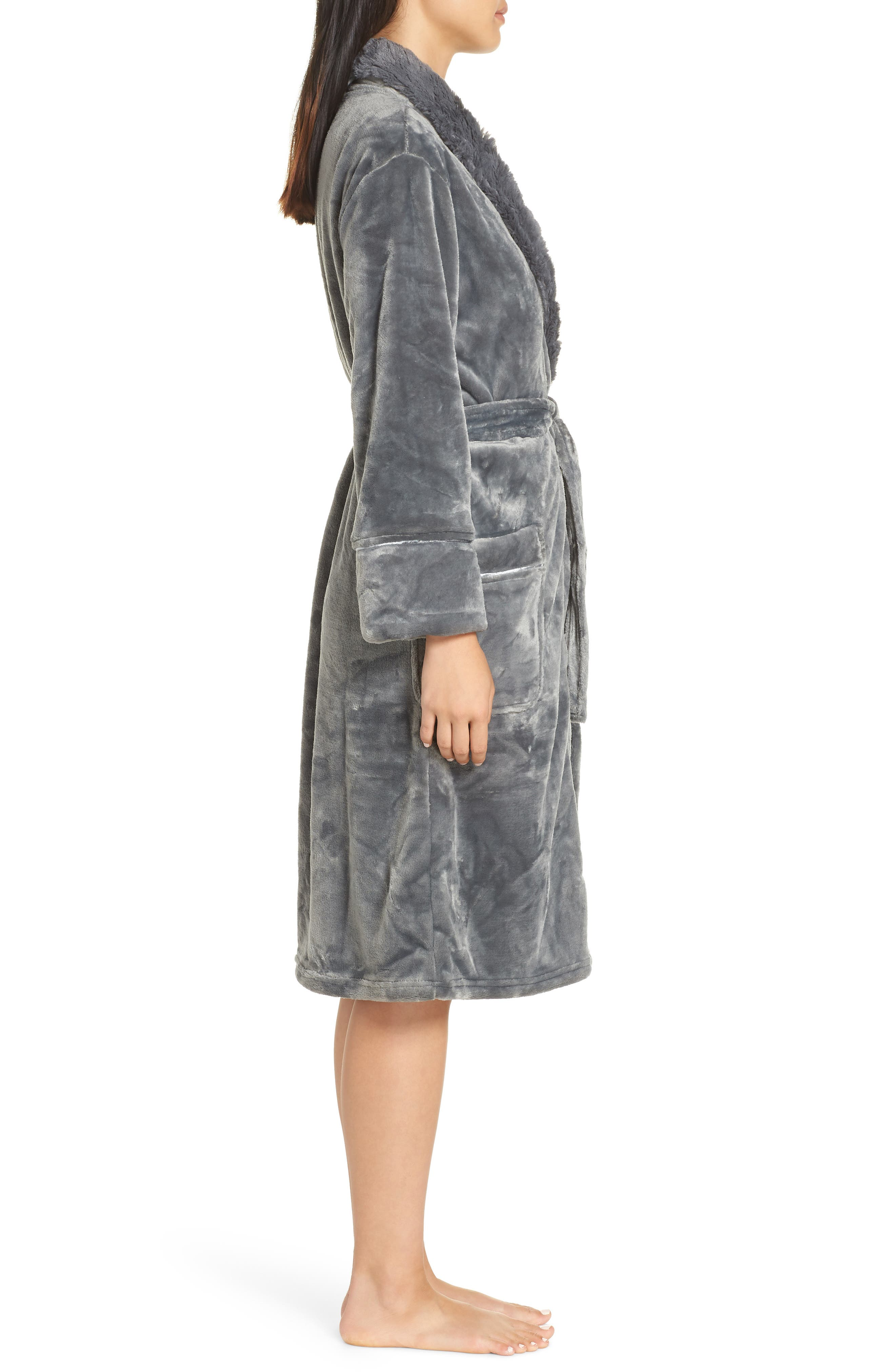 Luxe Faux Fur Robe,                             Alternate thumbnail 3, color,                             GREY