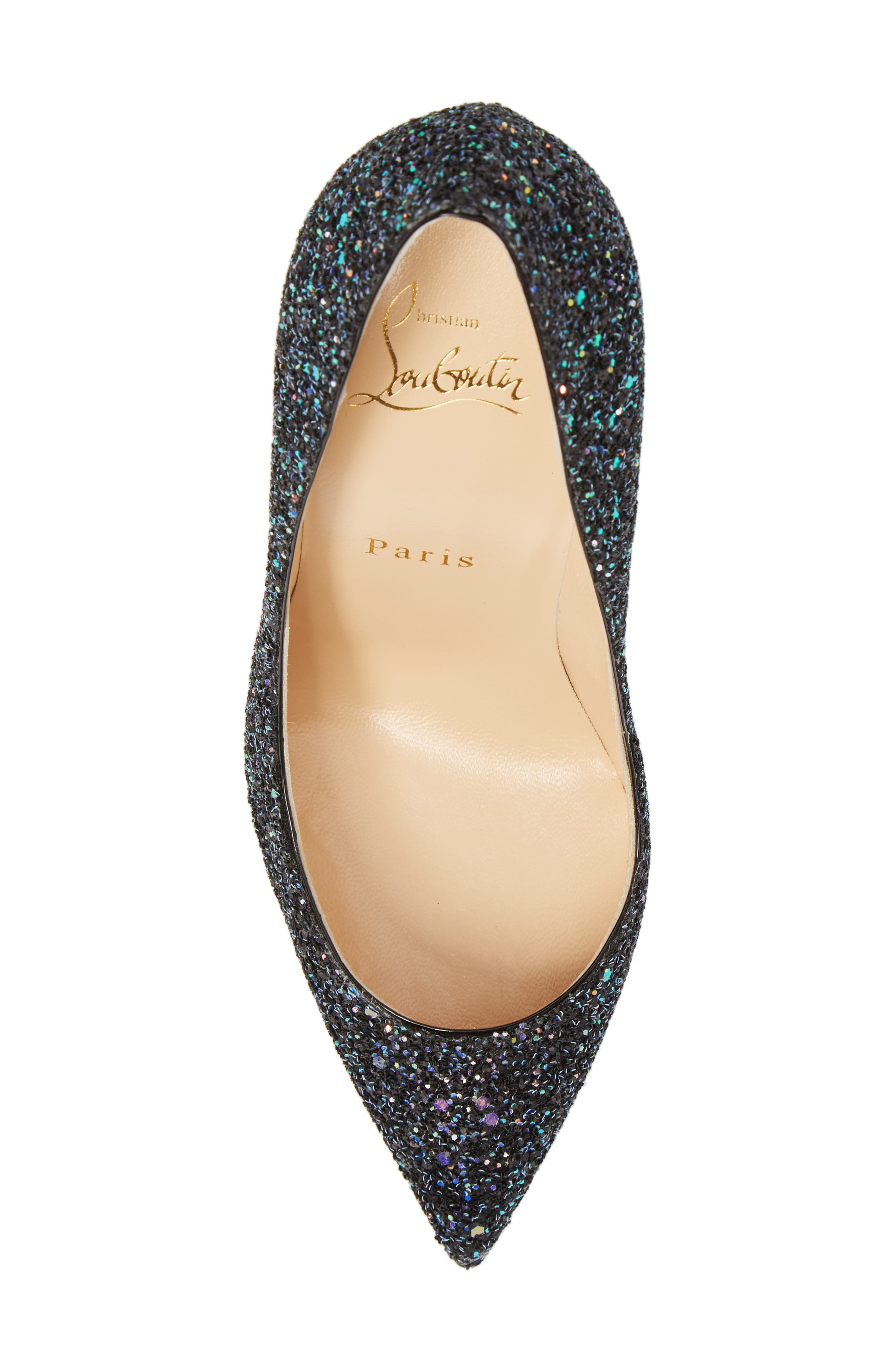 Pigalle Follies Glitter Pointy Toe Pump,                             Alternate thumbnail 5, color,                             001