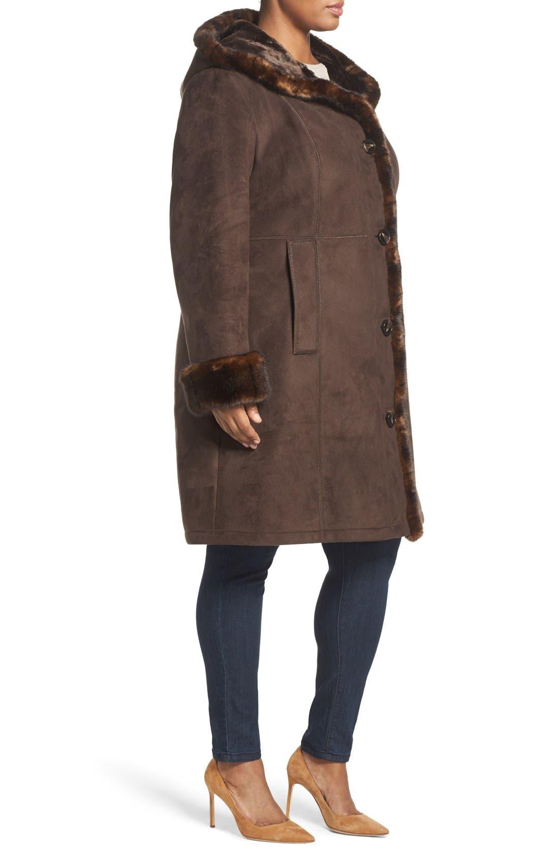 Faux Shearling A-Line Coat,                             Alternate thumbnail 3, color,                             204