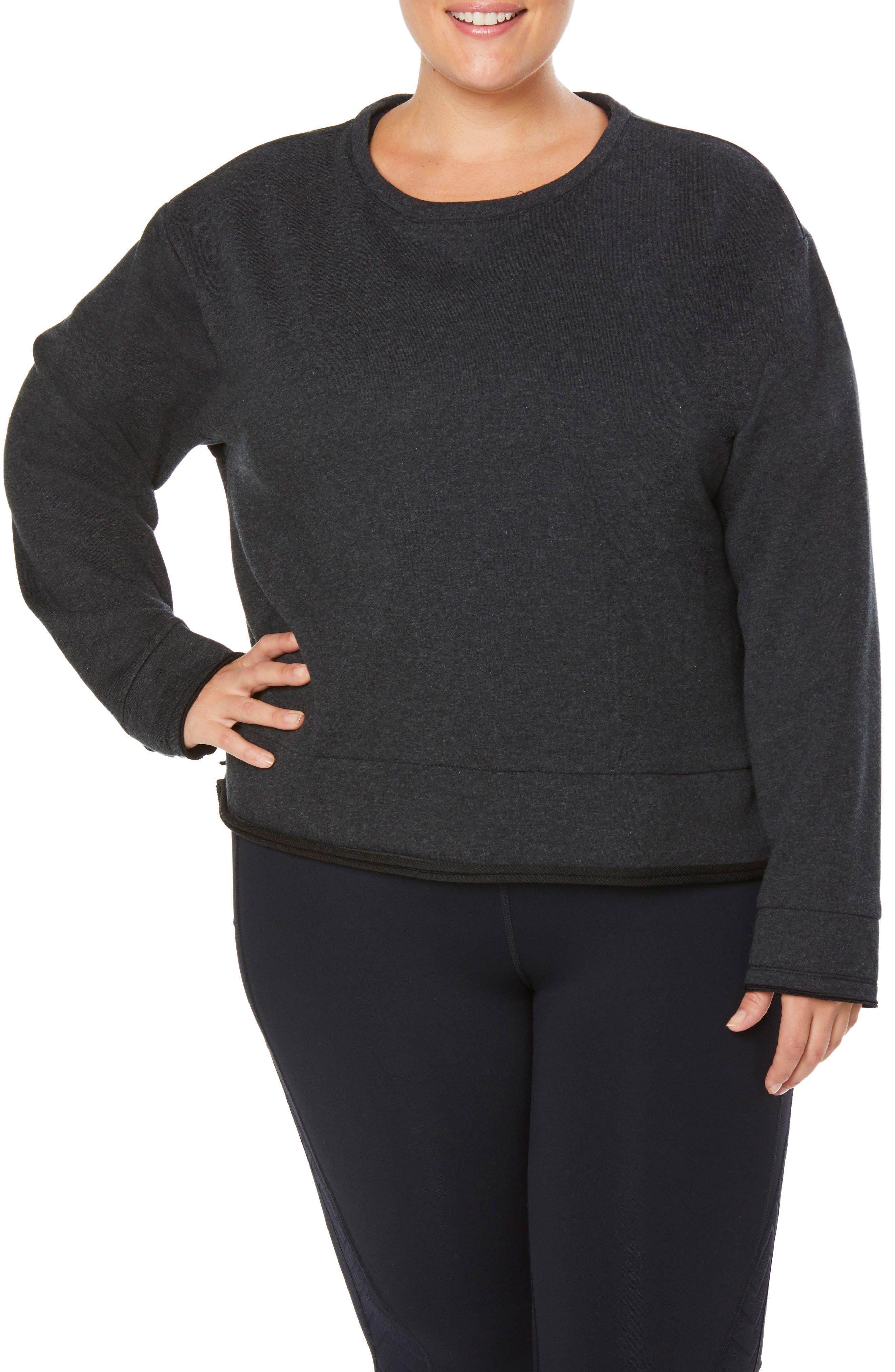 Shape Extended Day Sweatshirt,                             Main thumbnail 1, color,                             CHARCOAL BLACK