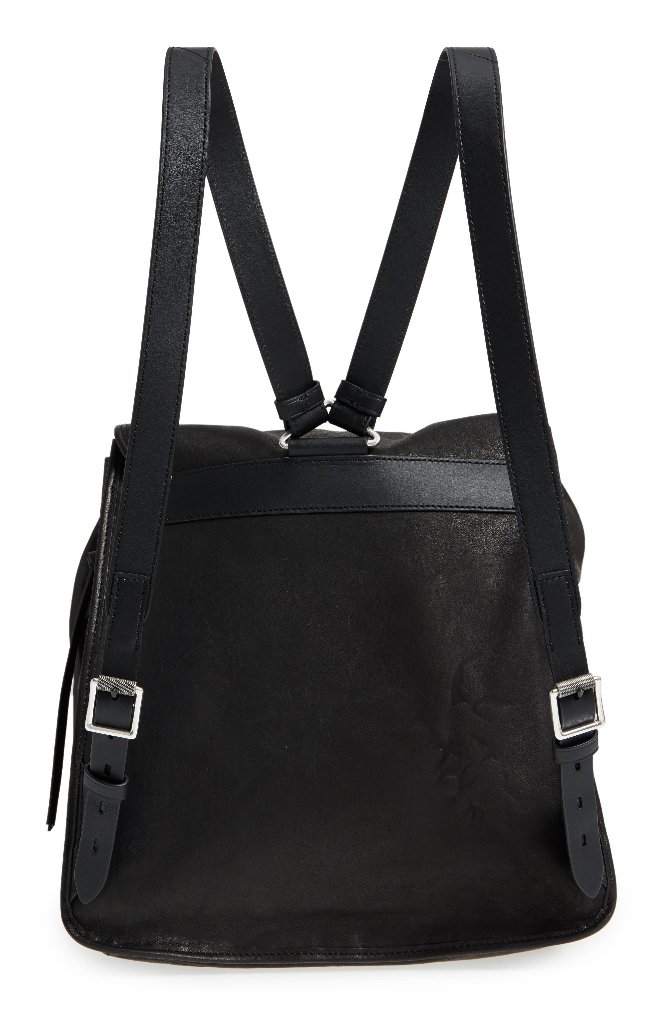 Field Lambskin Leather Backpack,                             Alternate thumbnail 3, color,                             BLACK