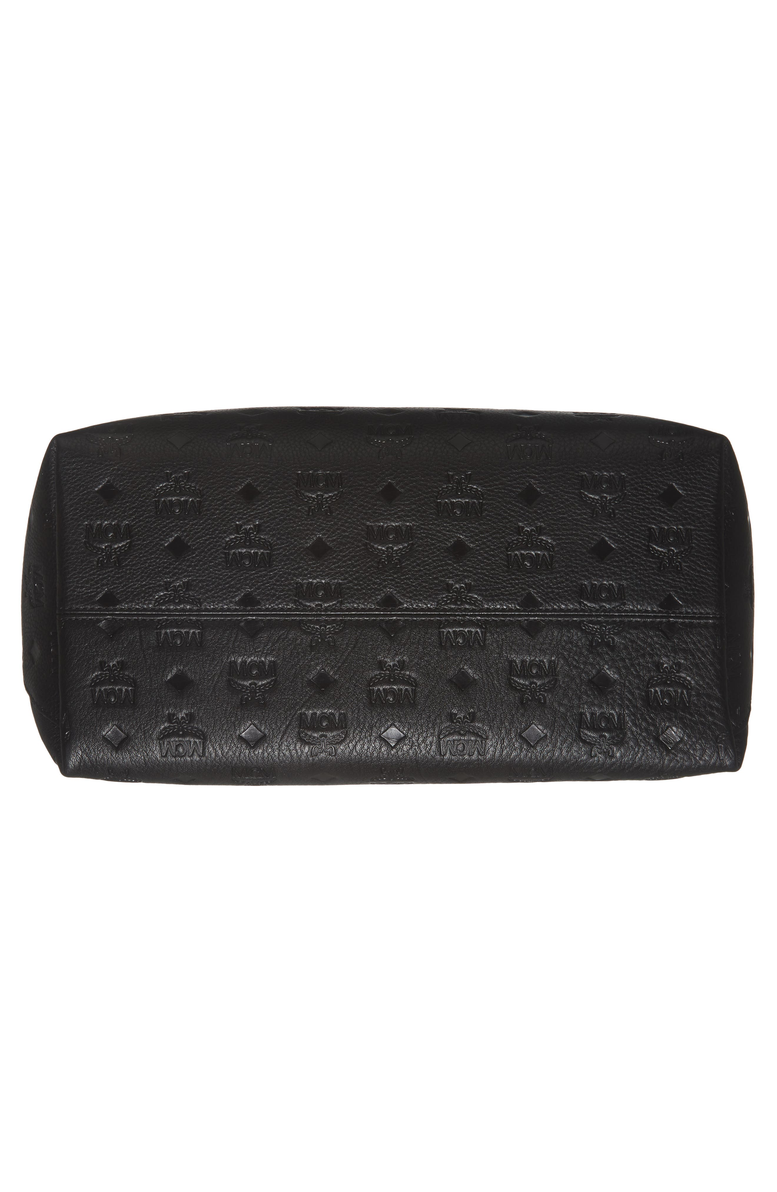 Klara Monogrammed Leather Hobo Bag,                             Alternate thumbnail 6, color,                             BLACK