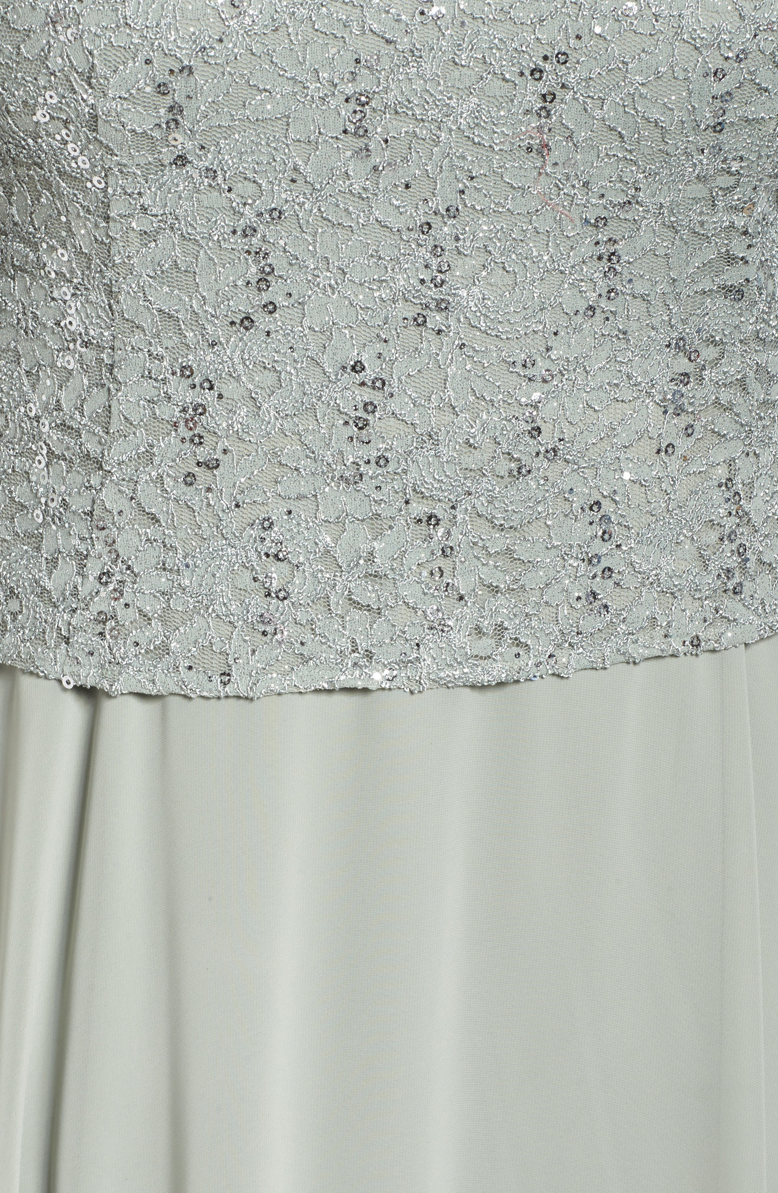 Sequin Lace & Satin Dress with Jacket,                             Alternate thumbnail 5, color,                             357