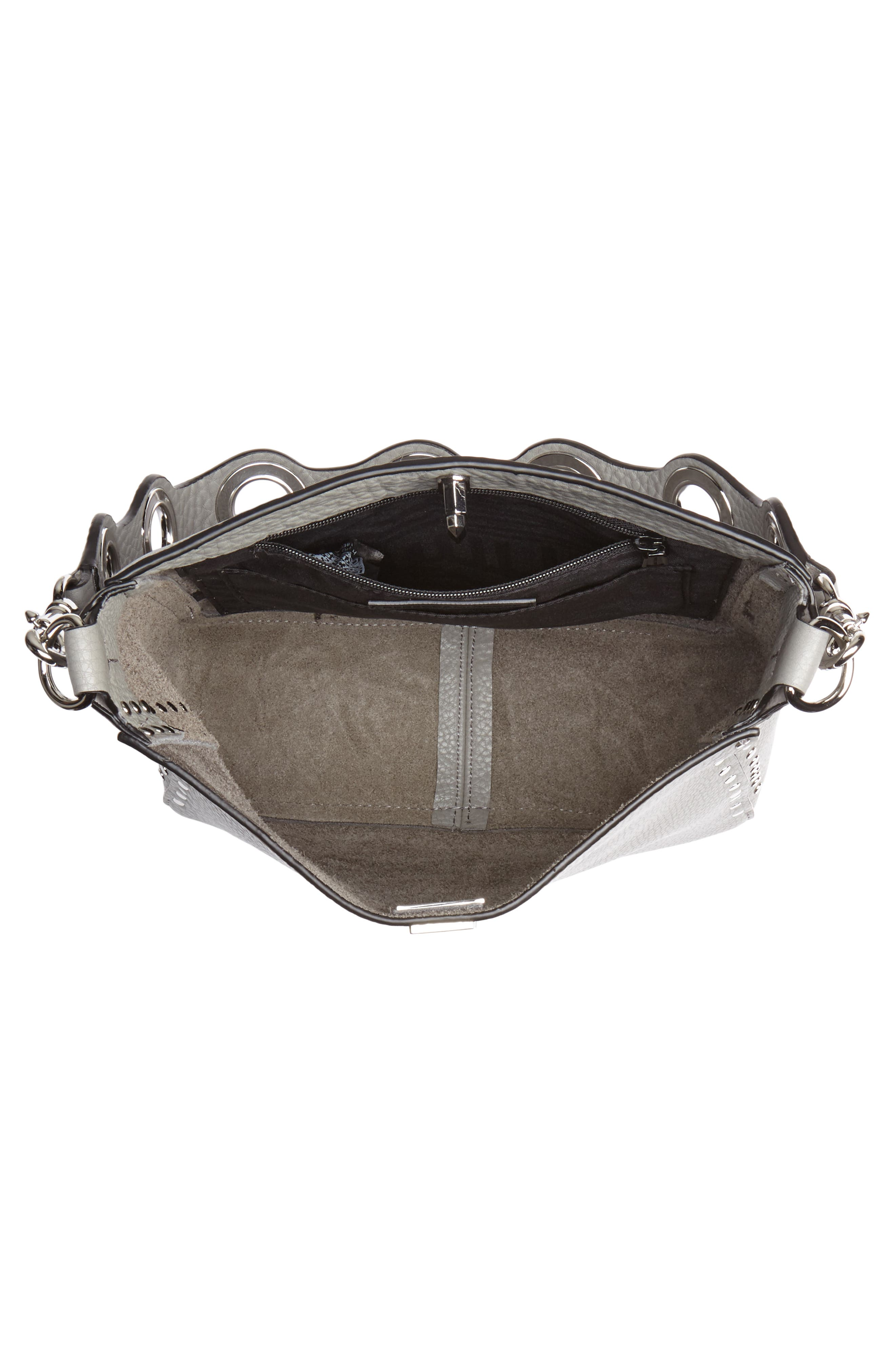 Small Studded Leather Feed Bag,                             Alternate thumbnail 5, color,                             GREY