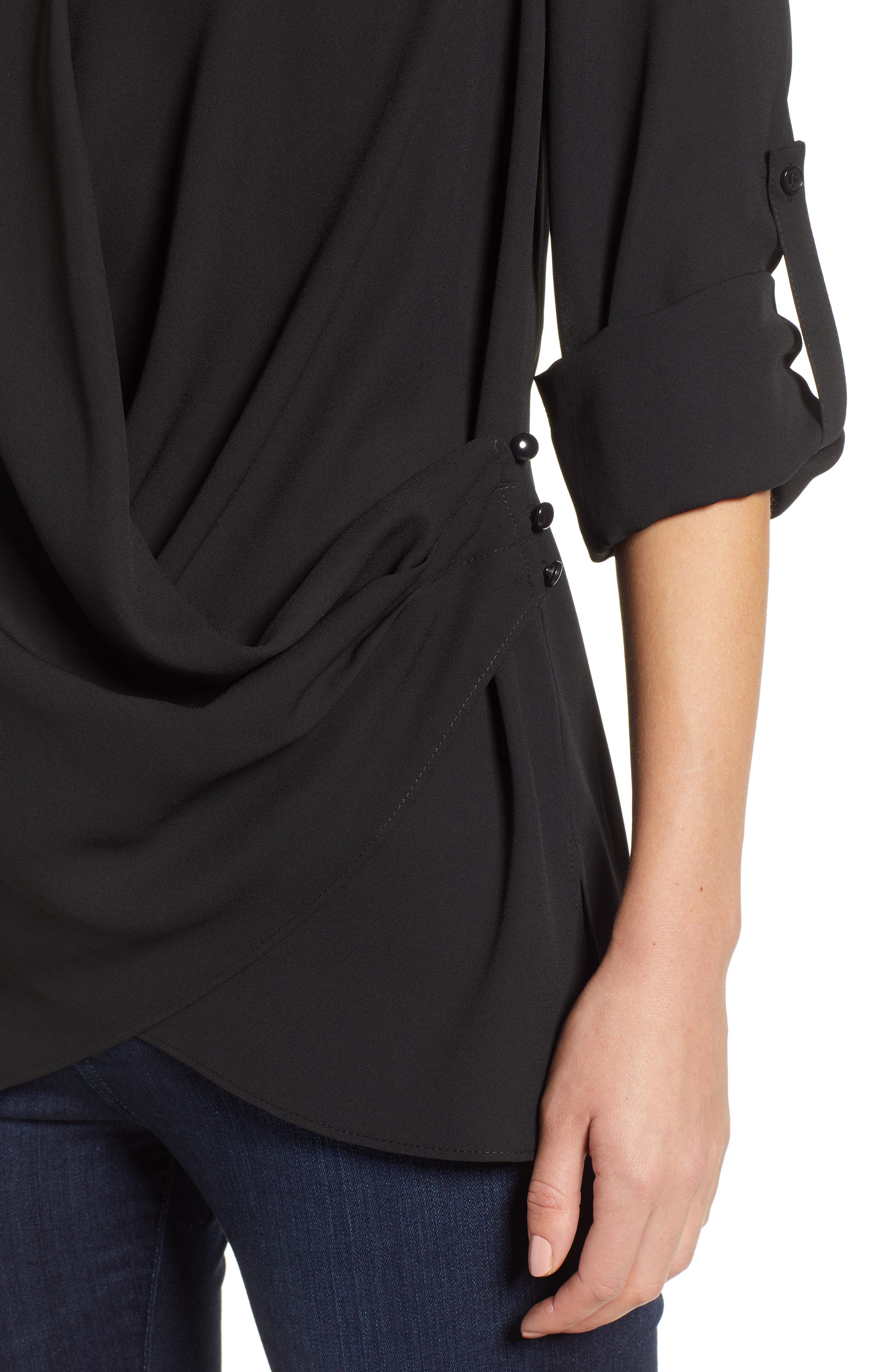 Side Drape Blouse,                             Alternate thumbnail 4, color,                             BLACK