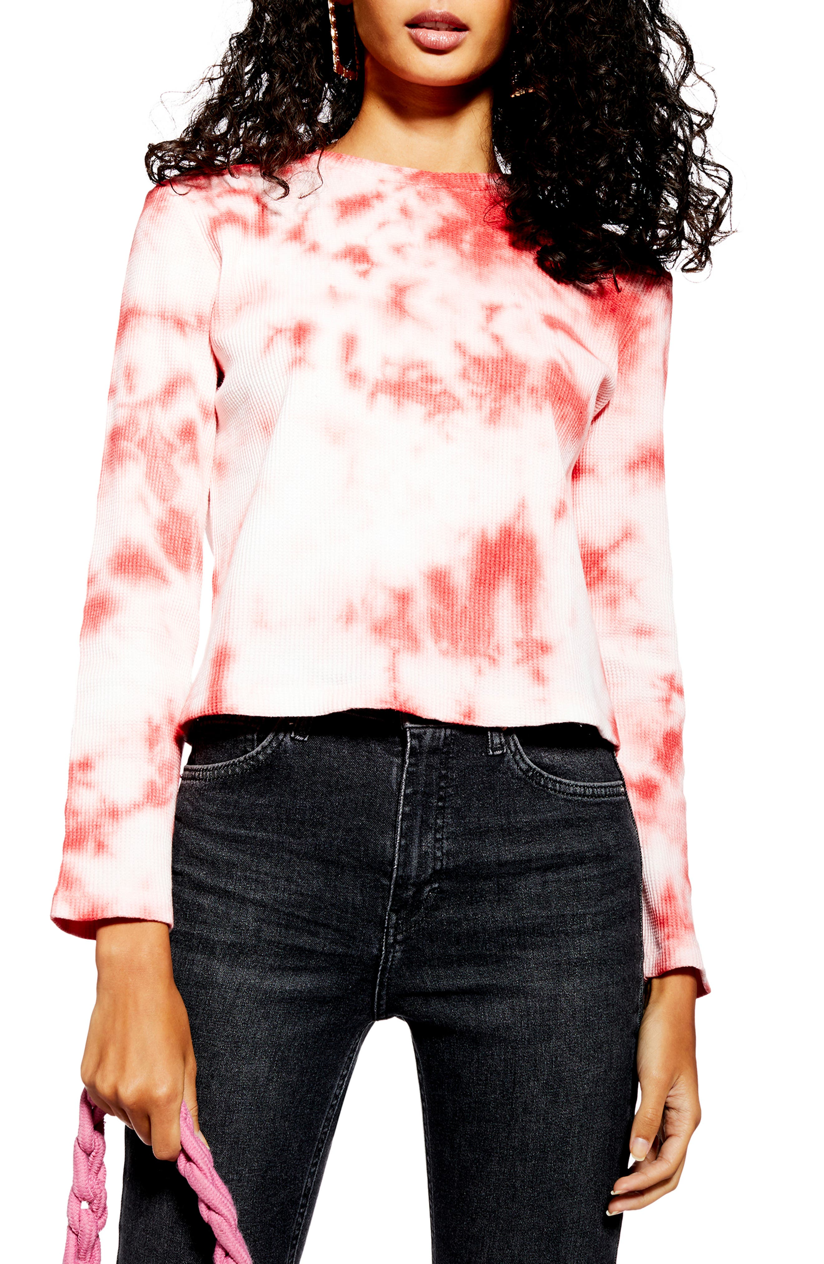 Tie Dye Waffle Shirt by Topshop