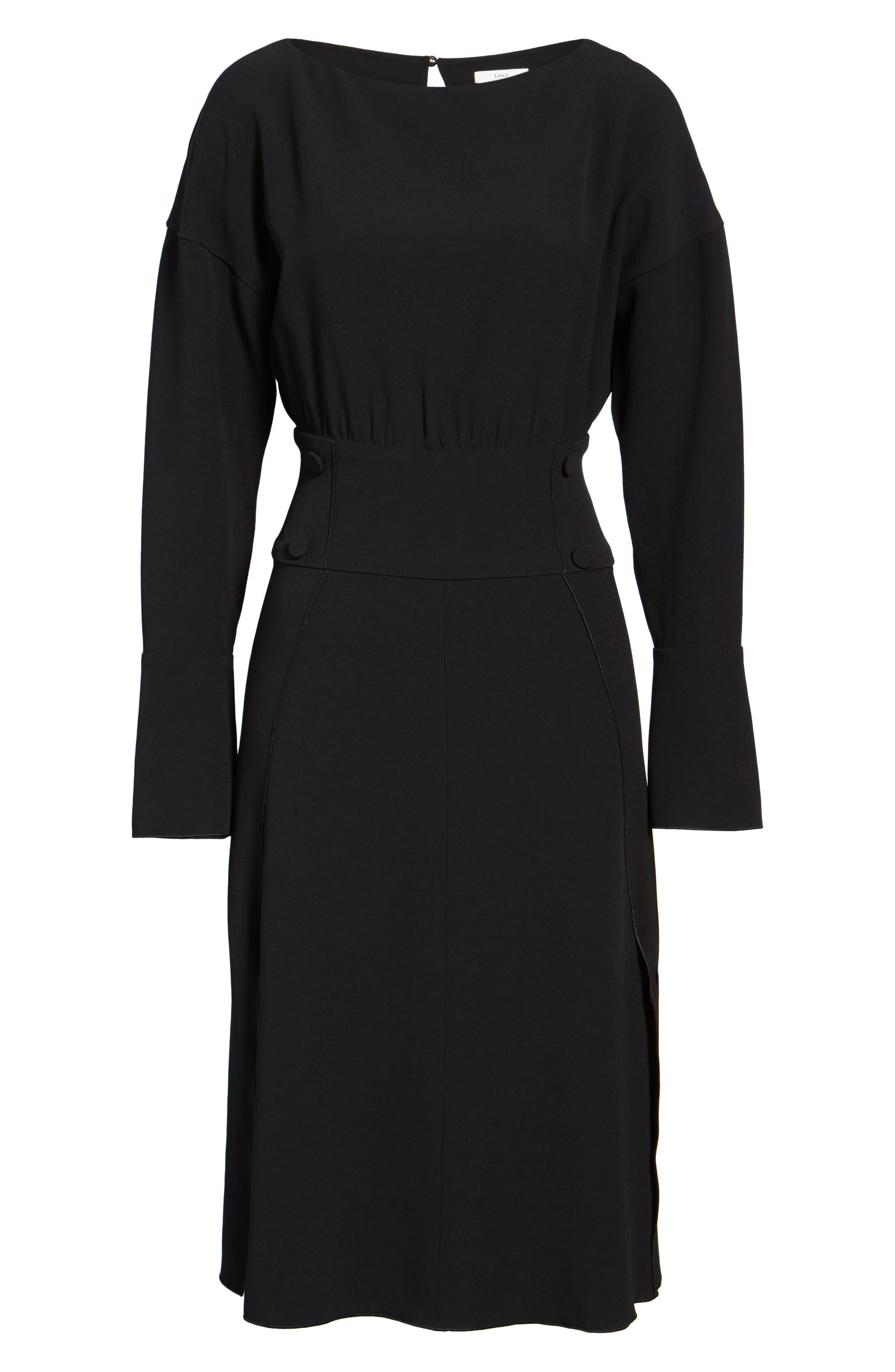 LEWIT,                             Button Detail Matte Crepe Midi Dress,                             Alternate thumbnail 6, color,                             001