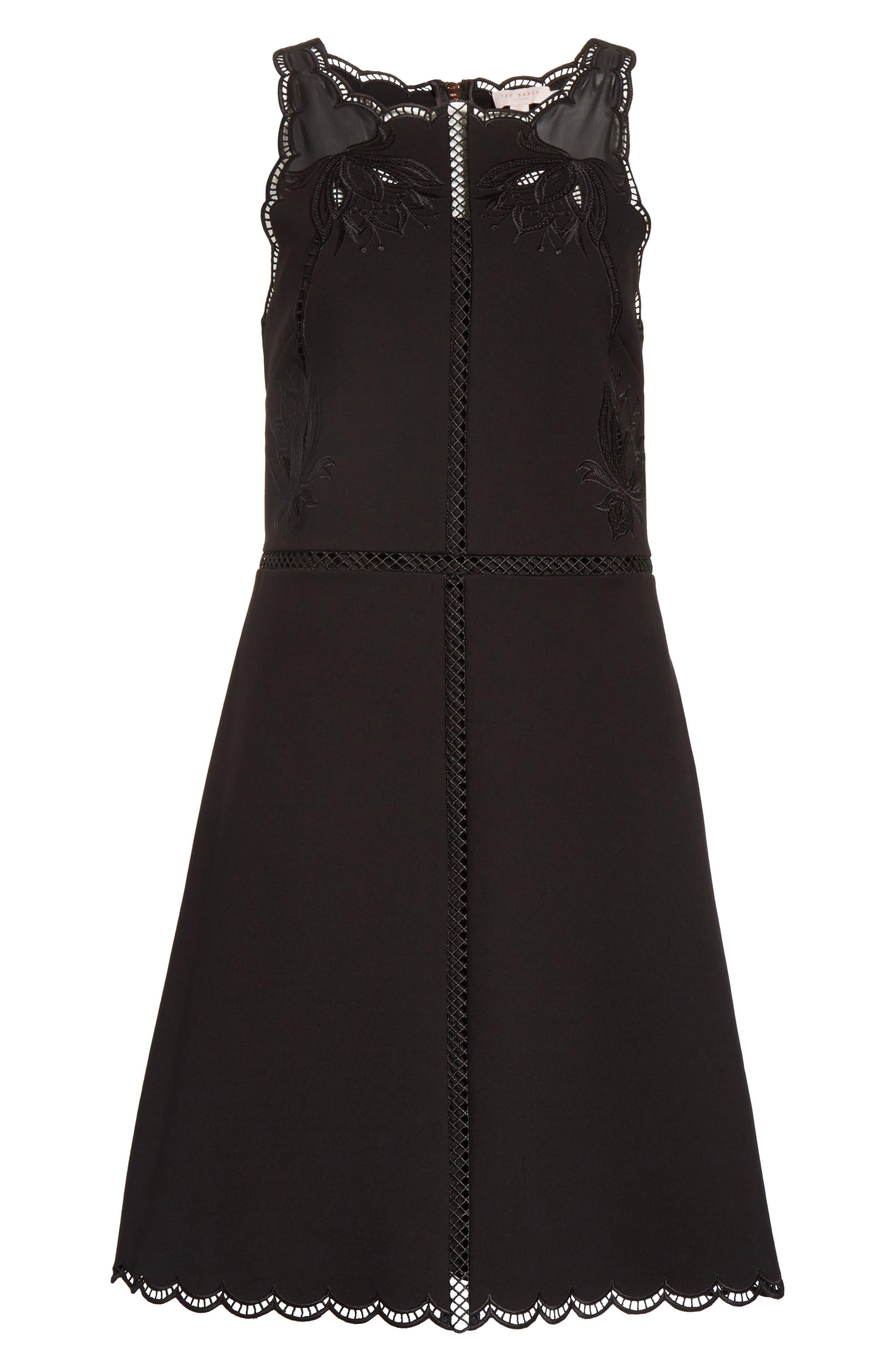 Codi Embroidered Scallop A-Line Dress,                             Alternate thumbnail 6, color,                             001