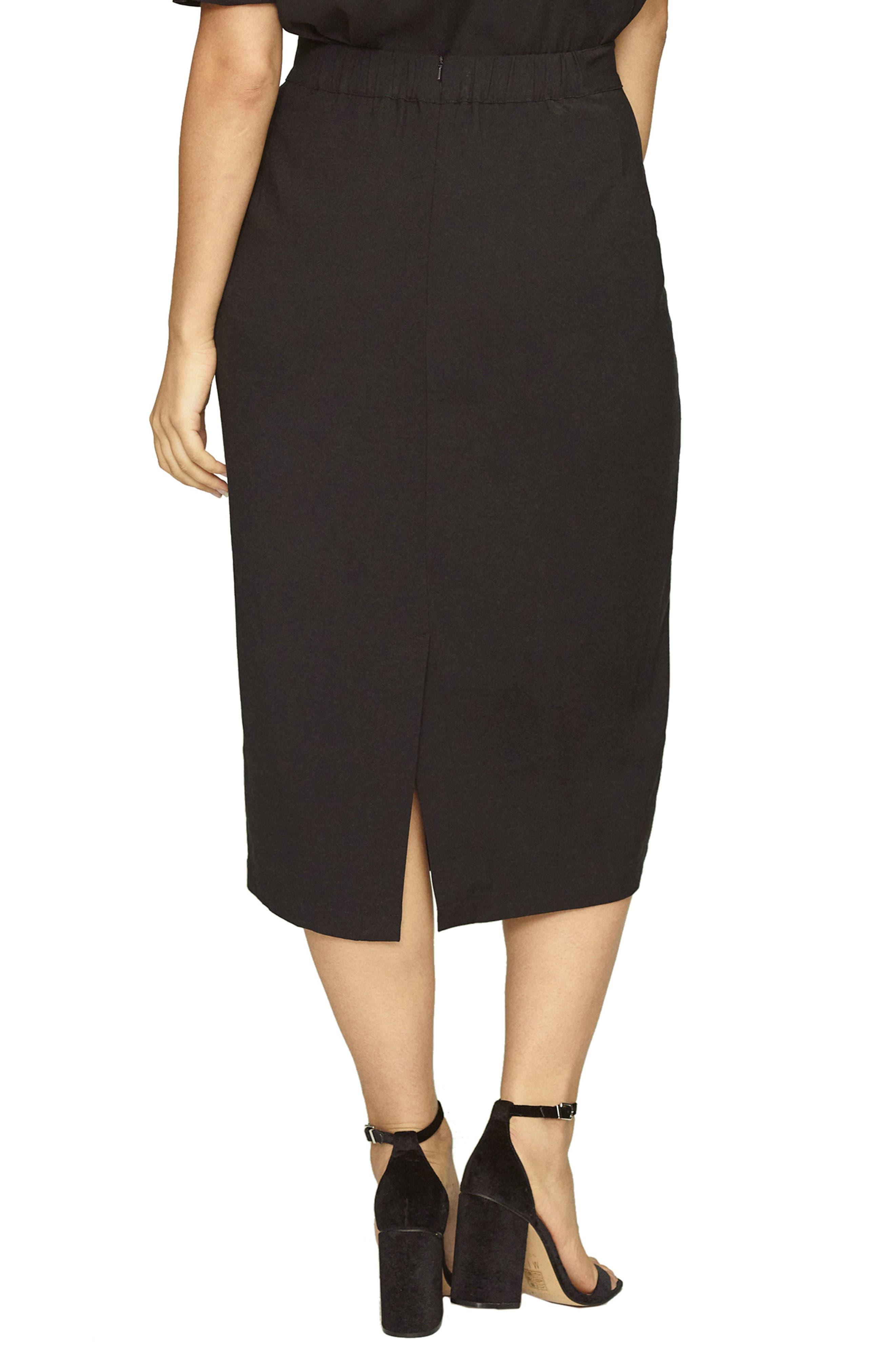 Twill Pencil Skirt,                             Alternate thumbnail 2, color,                             BLACK