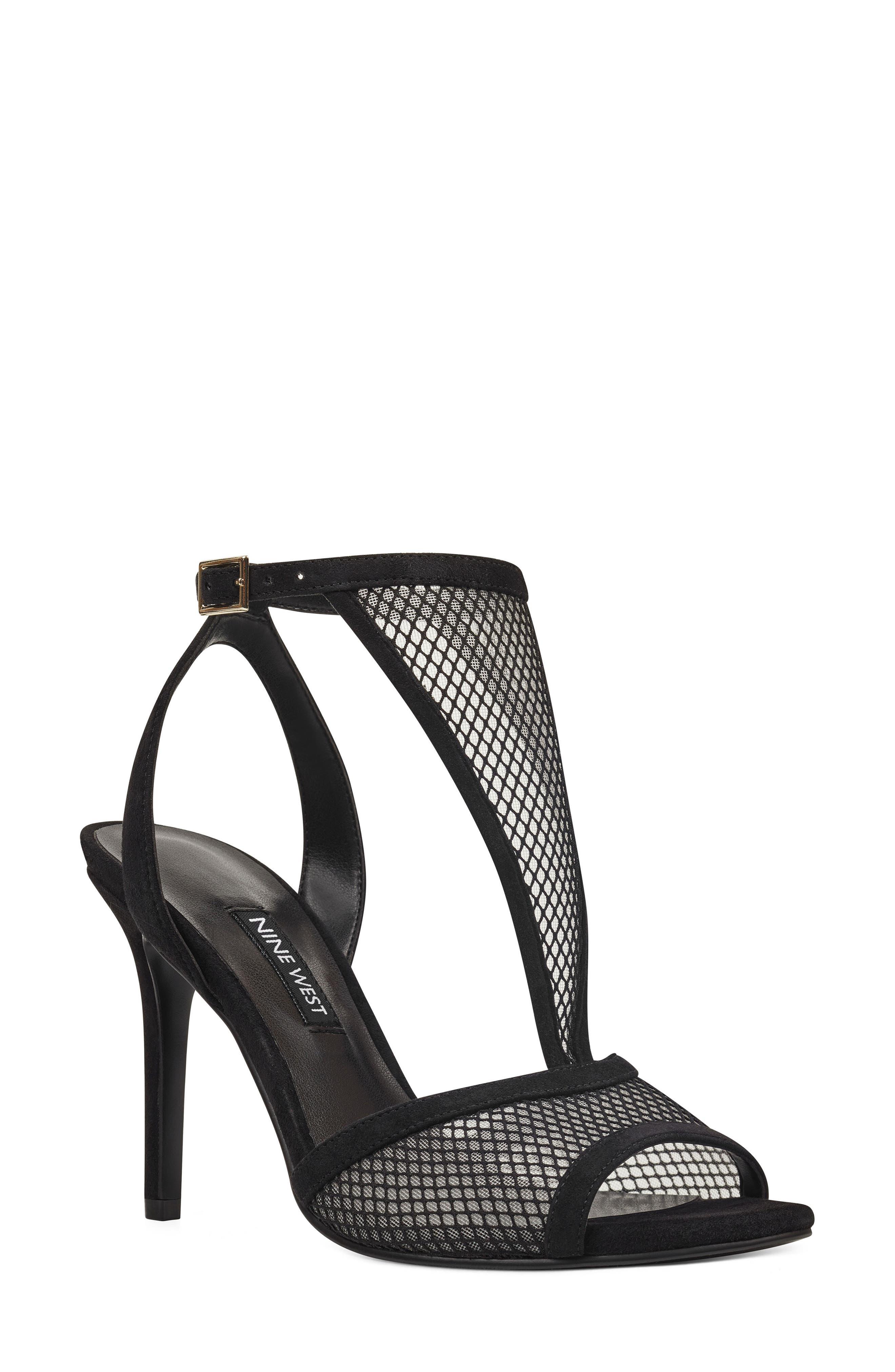Manchon 2 Ankle Strap Sandal,                             Main thumbnail 1, color,                             BLACK STRETCH MESH/ LEATHER