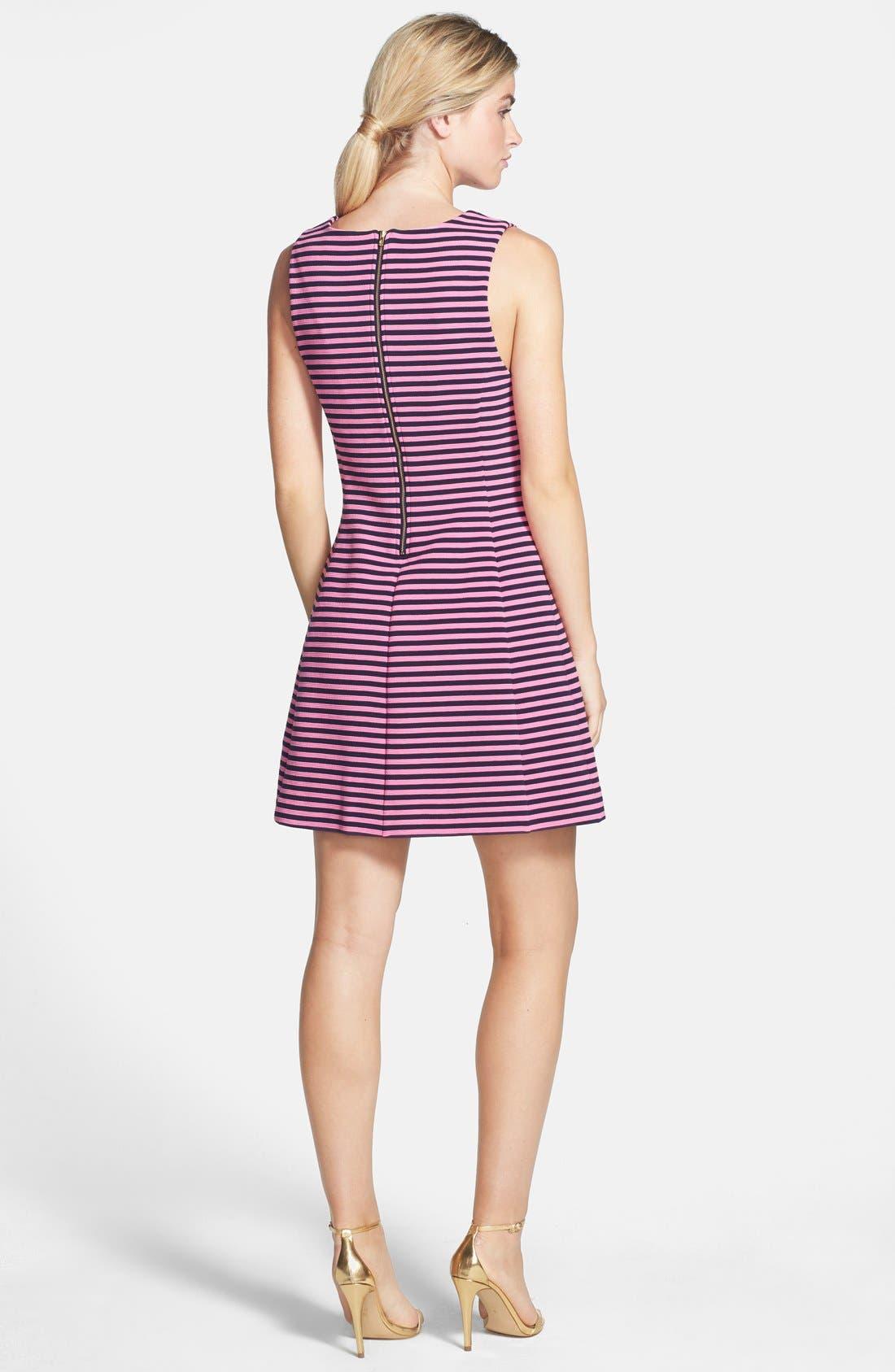 'Brielle' Stripe Fit & Flare Dress,                             Alternate thumbnail 4, color,                             650