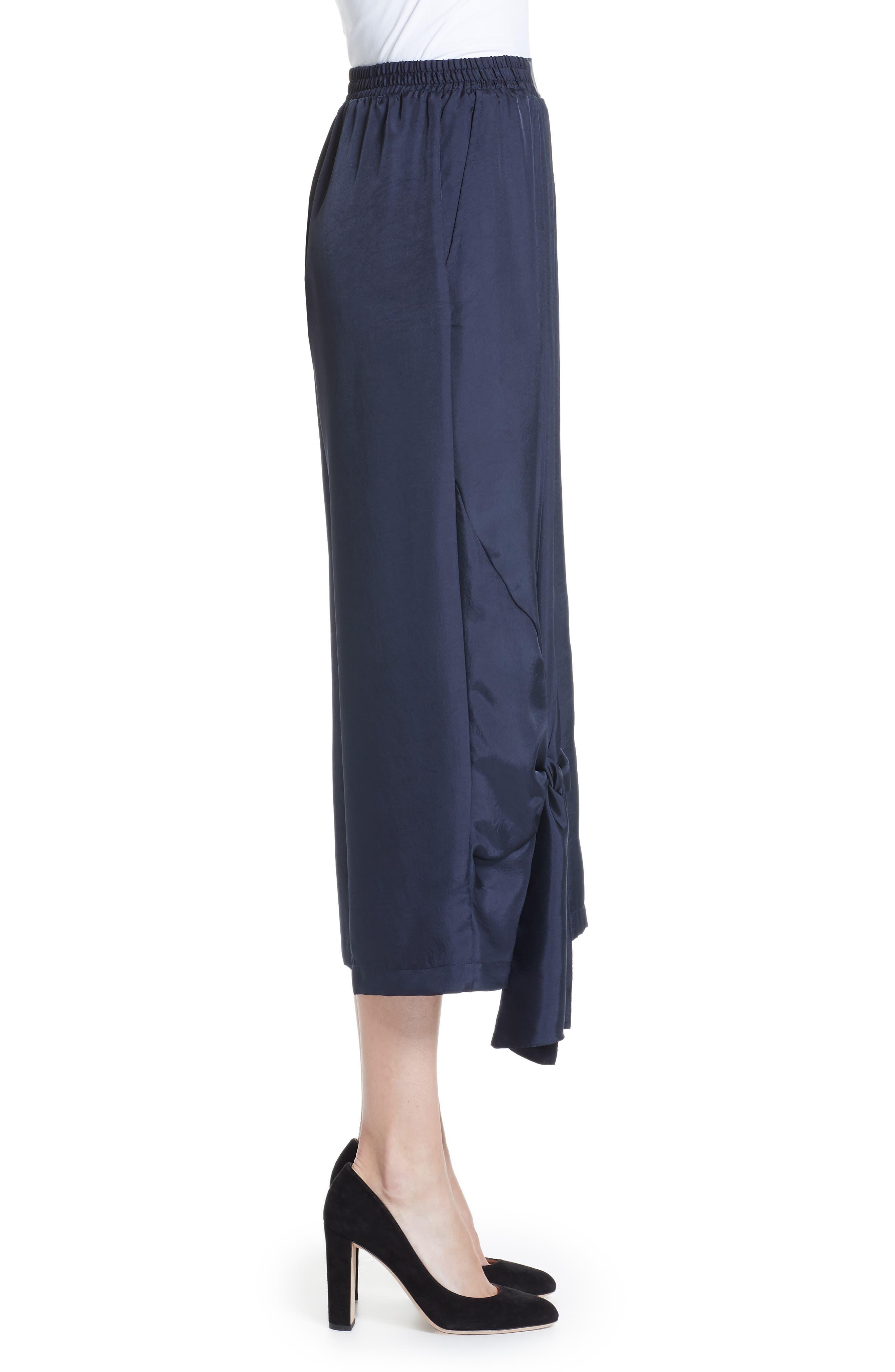 Tie Detail Crop Pants,                             Alternate thumbnail 3, color,                             NAVY