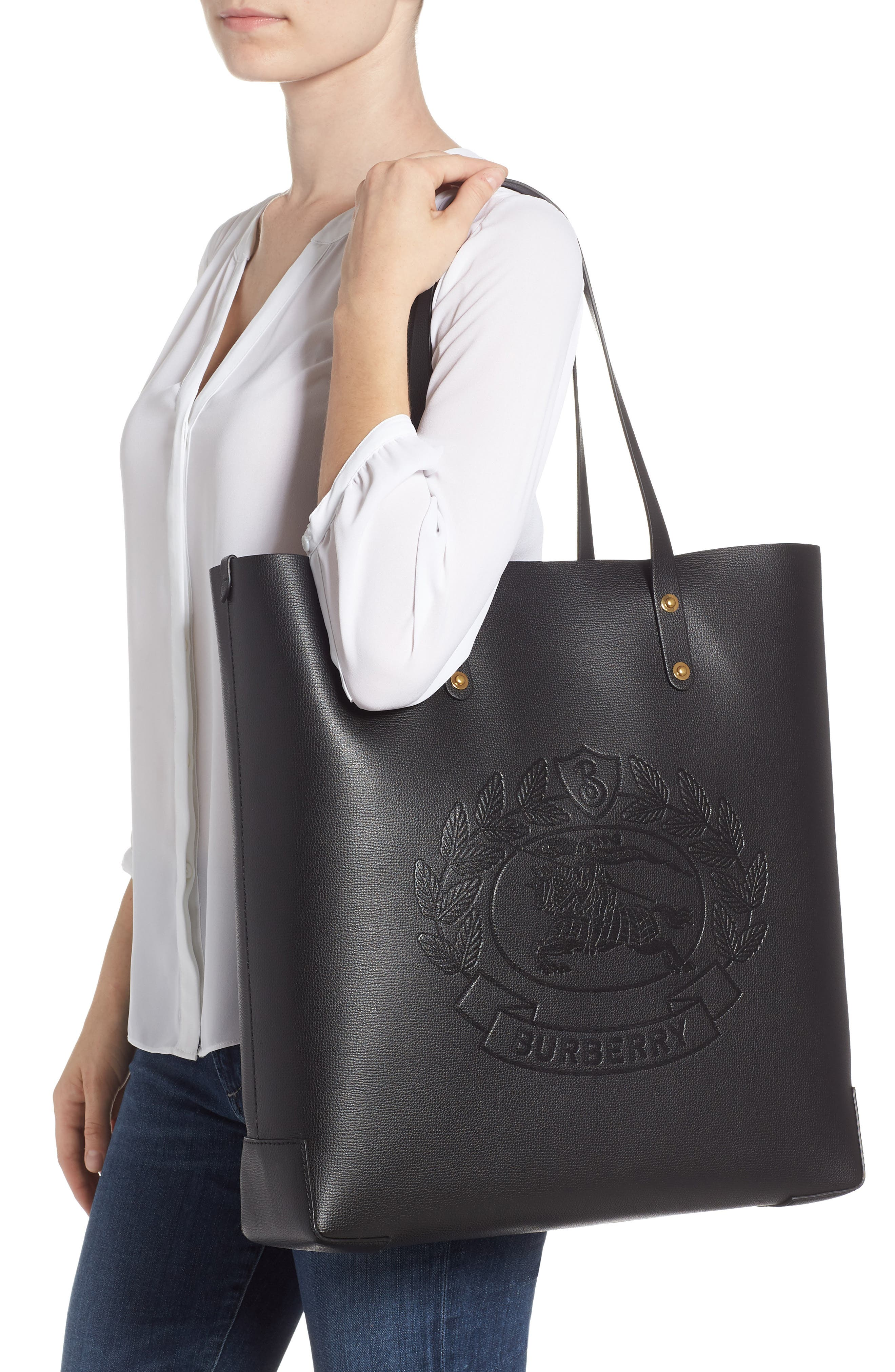Embossed Crest Large Leather Tote,                             Alternate thumbnail 2, color,                             BLACK