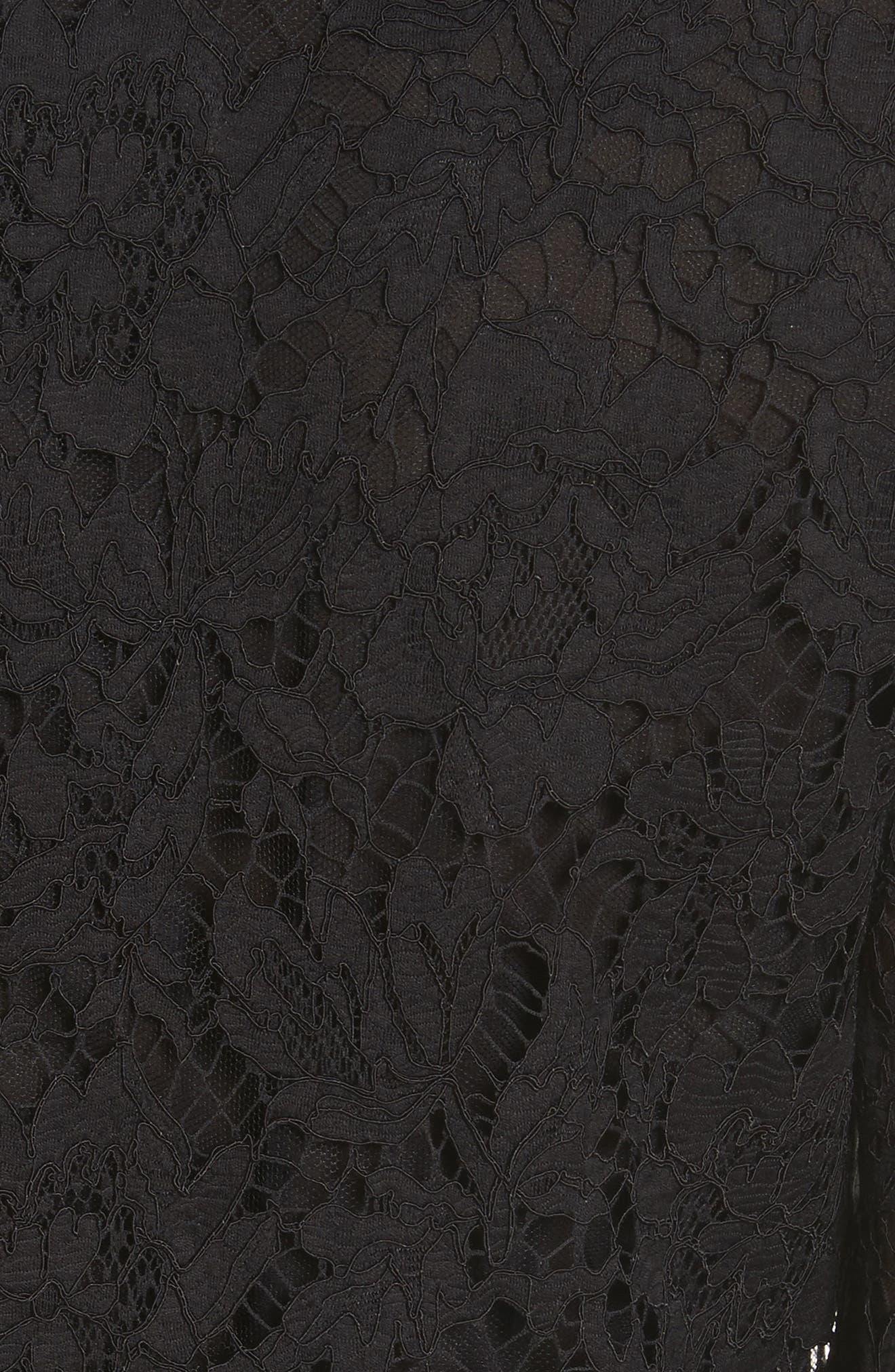 Lace Bell Sleeve Dress,                             Alternate thumbnail 6, color,                             BLACK