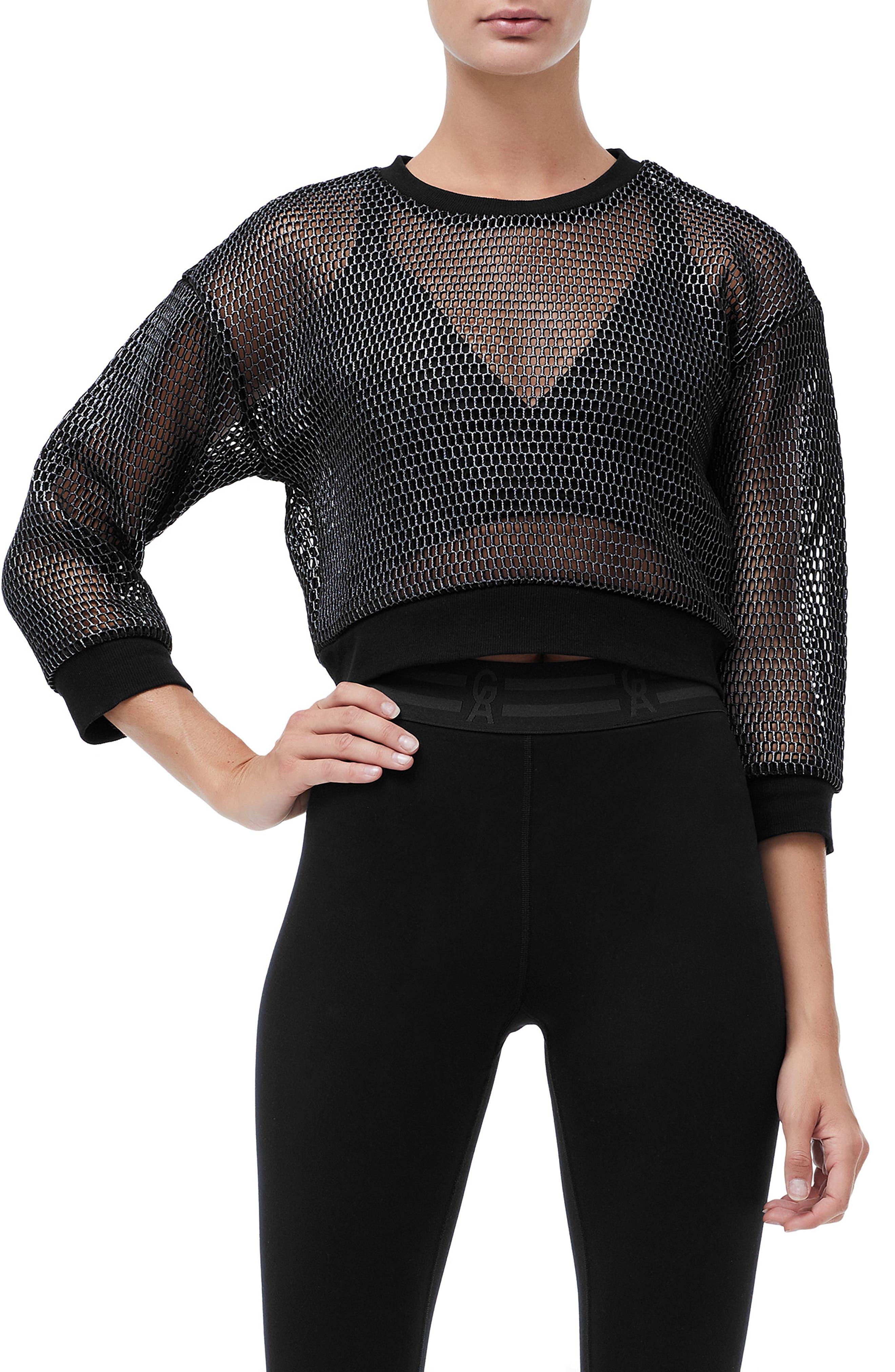 Branded Mesh Pullover Sweatshirt,                         Main,                         color, SILVER001