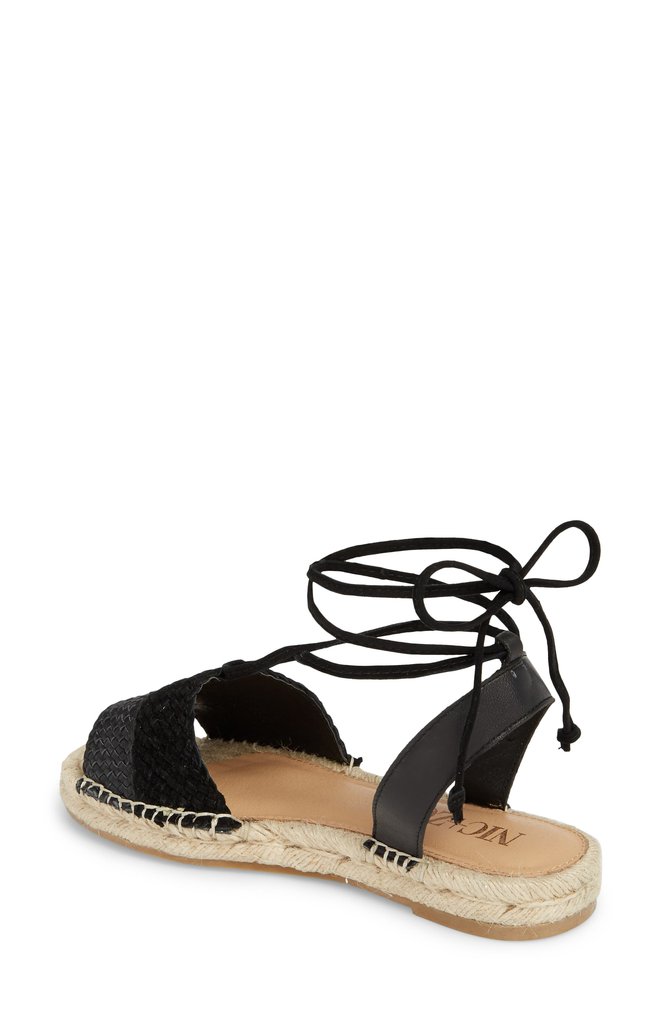 Eliza Ankle Wrap Espadrille Sandal,                             Alternate thumbnail 2, color,                             BLACK FABRIC