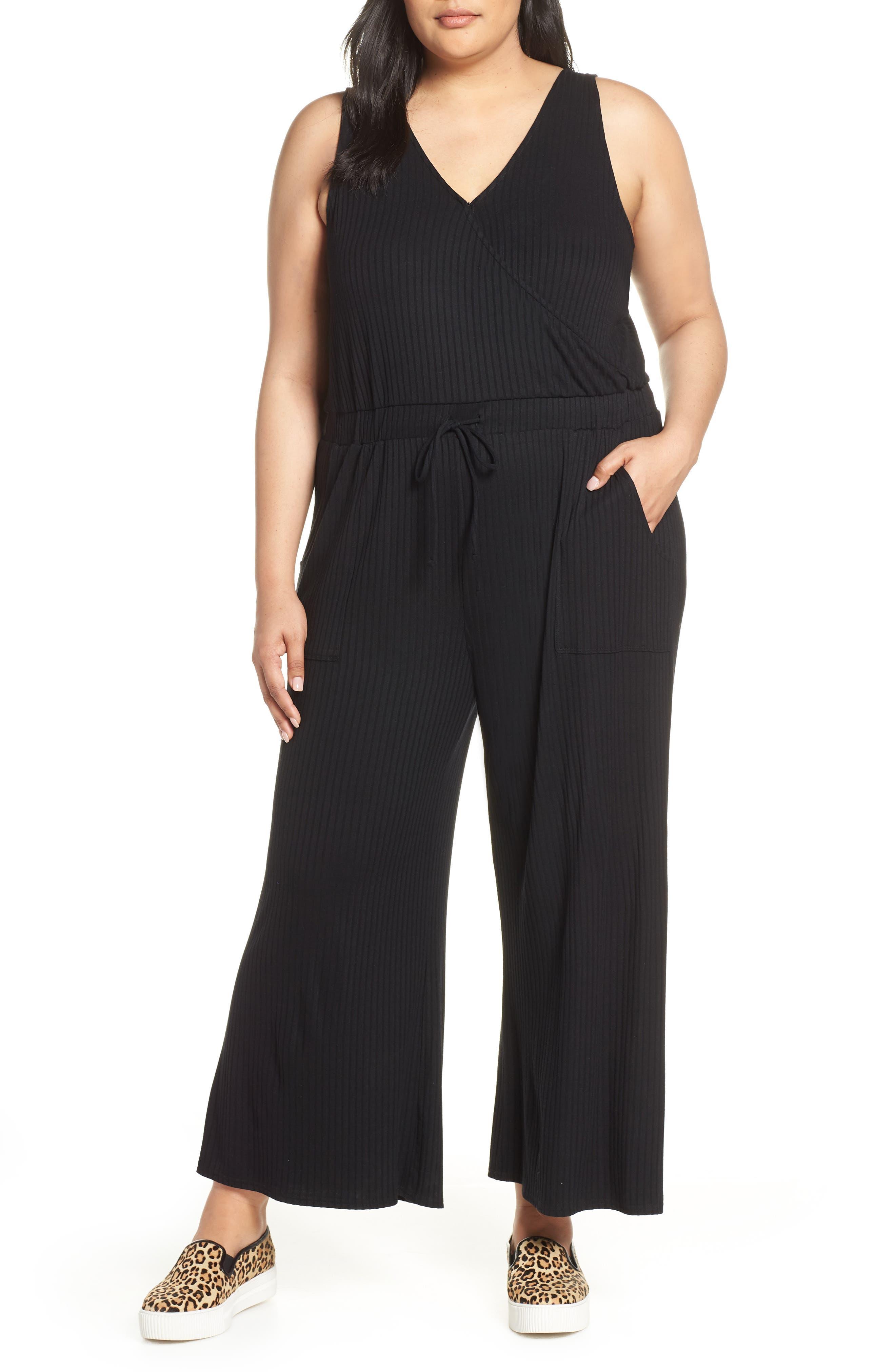 BP.,                             Wide Leg Rib Jumpsuit,                             Alternate thumbnail 2, color,                             BLACK
