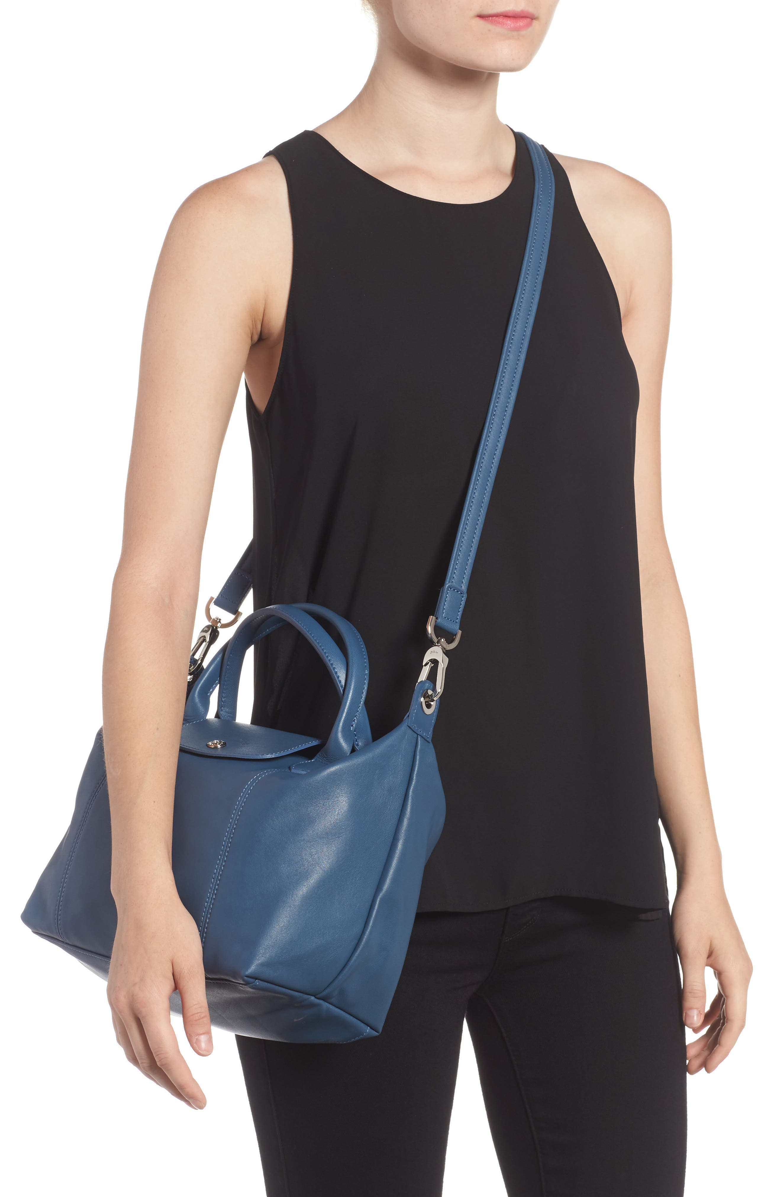 Small 'Le Pliage Cuir' Leather Top Handle Tote,                             Alternate thumbnail 35, color,