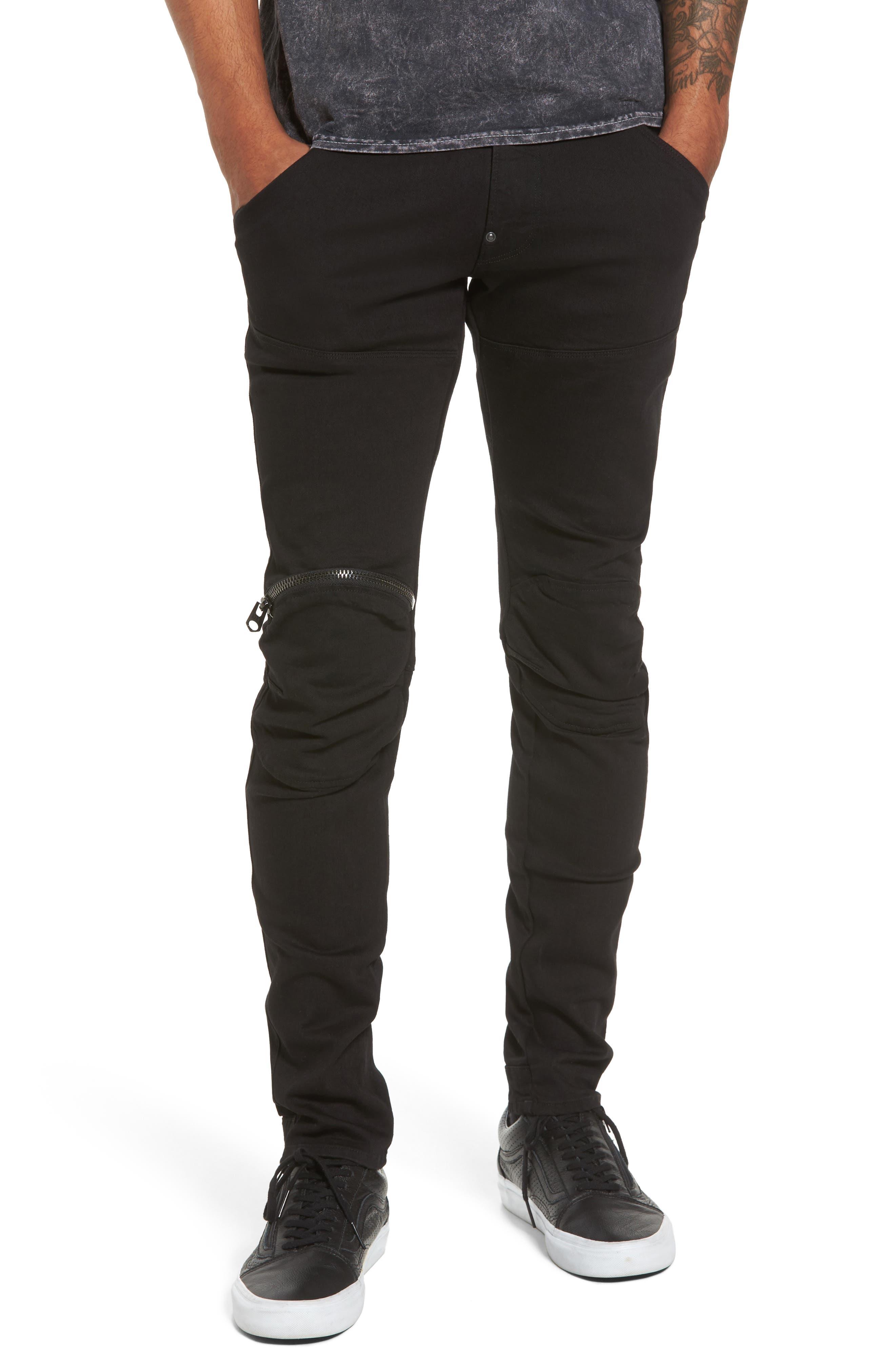 3D Zip Knee Super Slim Pants,                             Main thumbnail 1, color,                             001