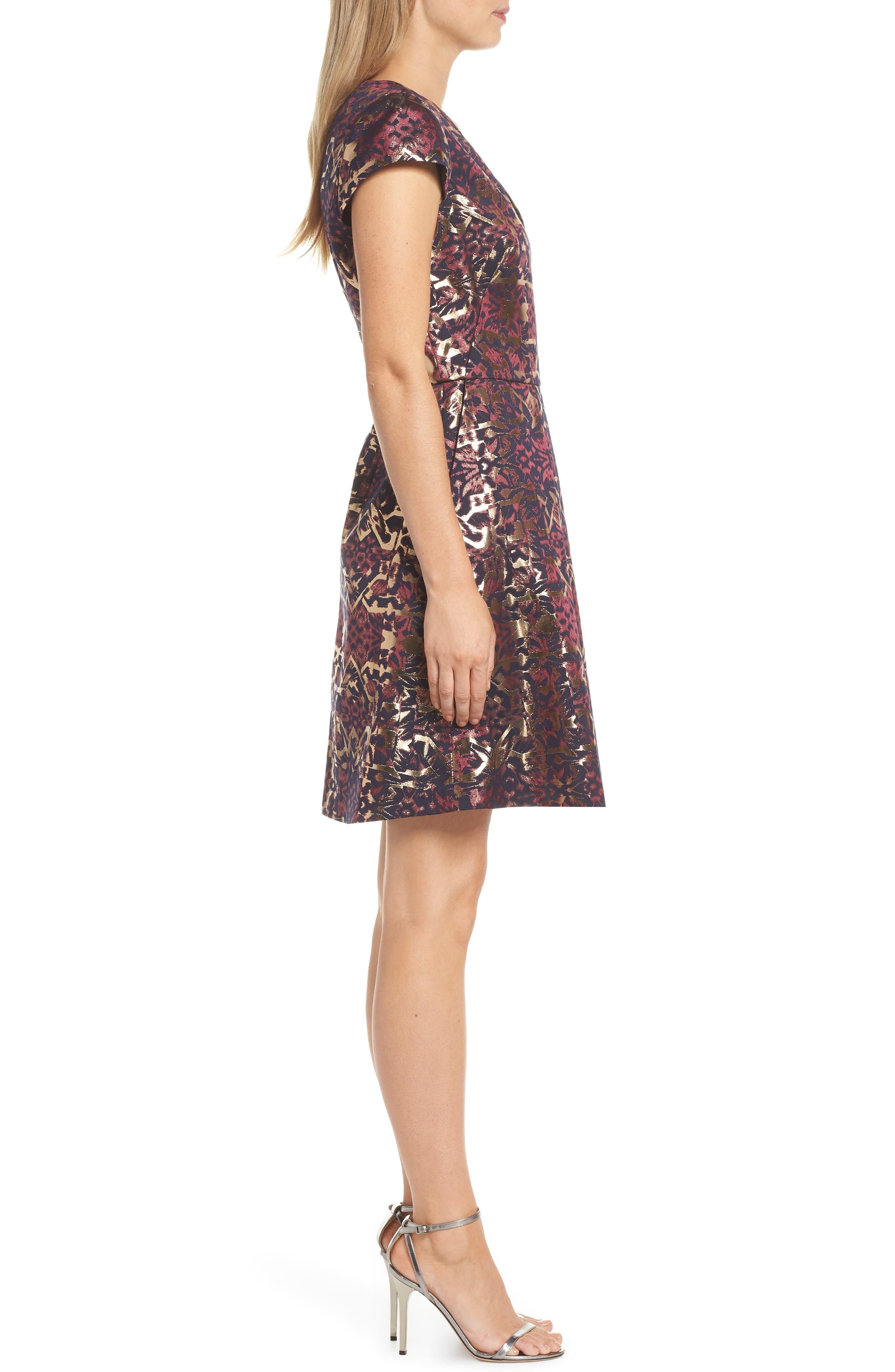 Metallic Jacquard Fit & Flare Dress,                             Alternate thumbnail 3, color,                             PINK MULTI